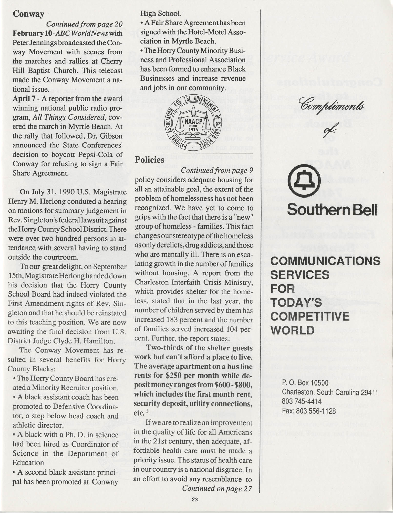 1990 NAACP Freedom Fund Magazine, Charleston Branch of the NAACP, 74th Anniversary, Page 23