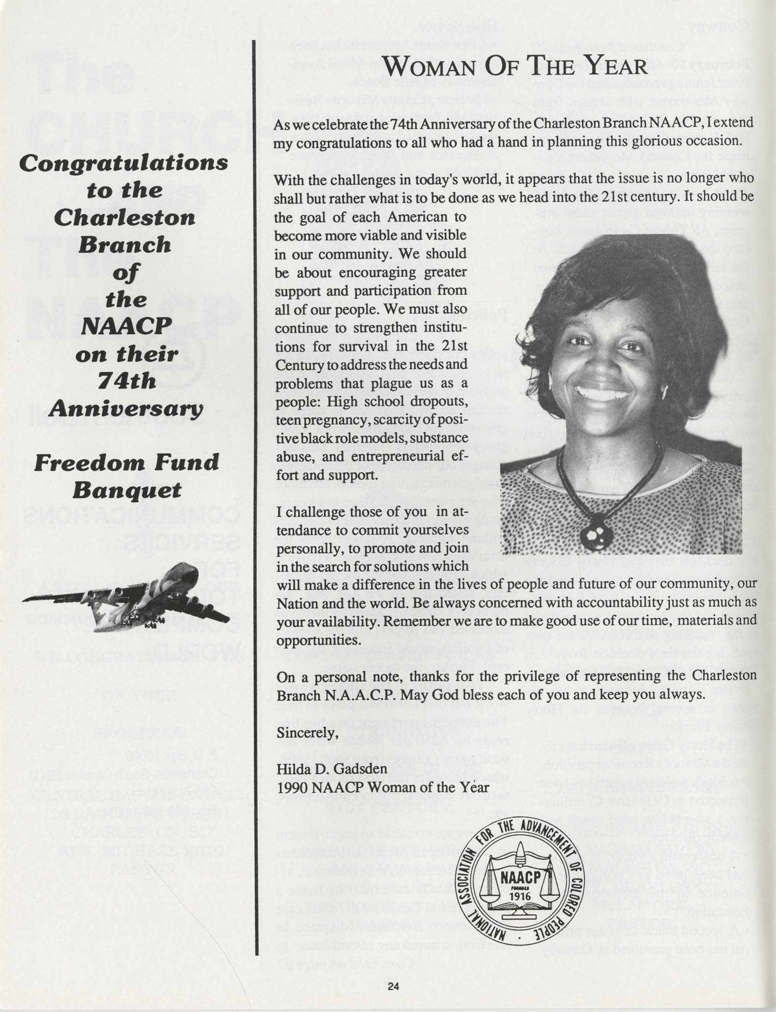 1990 NAACP Freedom Fund Magazine, Charleston Branch of the NAACP, 74th Anniversary, Page 24