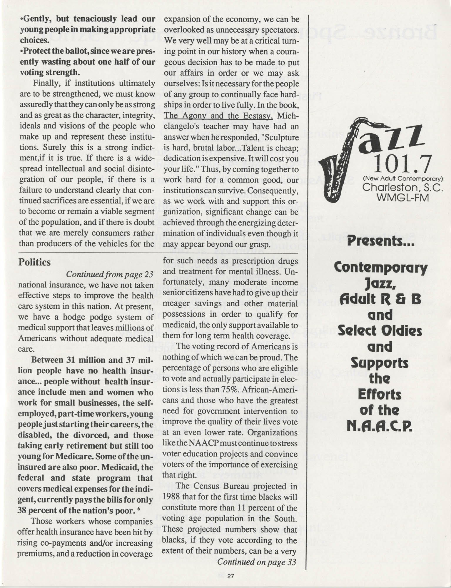 1990 NAACP Freedom Fund Magazine, Charleston Branch of the NAACP, 74th Anniversary, Page 27
