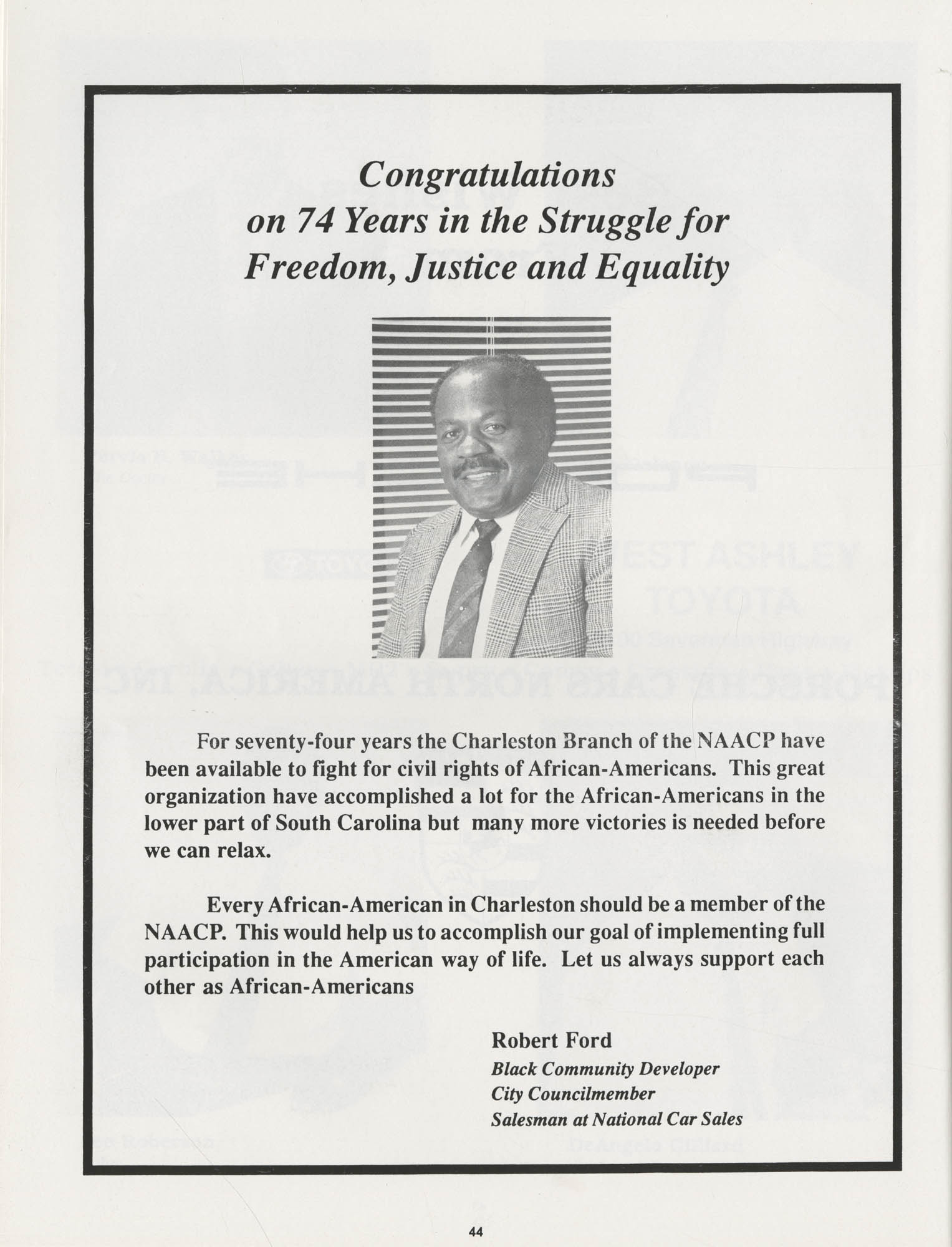 1990 NAACP Freedom Fund Magazine, Charleston Branch of the NAACP, 74th Anniversary, Page 44