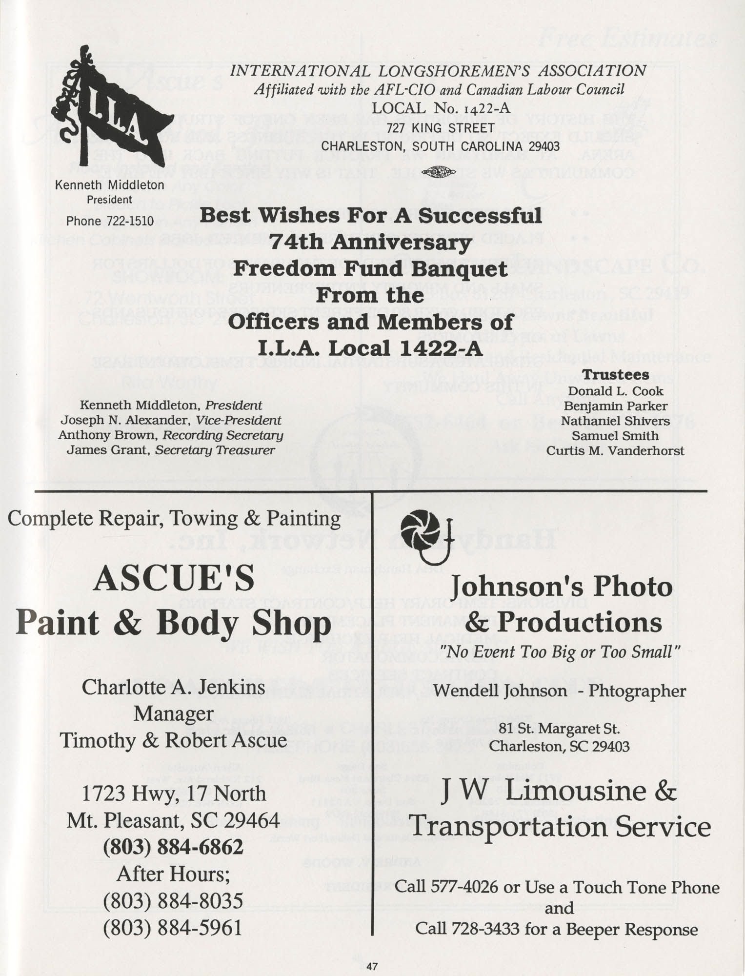 1990 NAACP Freedom Fund Magazine, Charleston Branch of the NAACP, 74th Anniversary, Page 47
