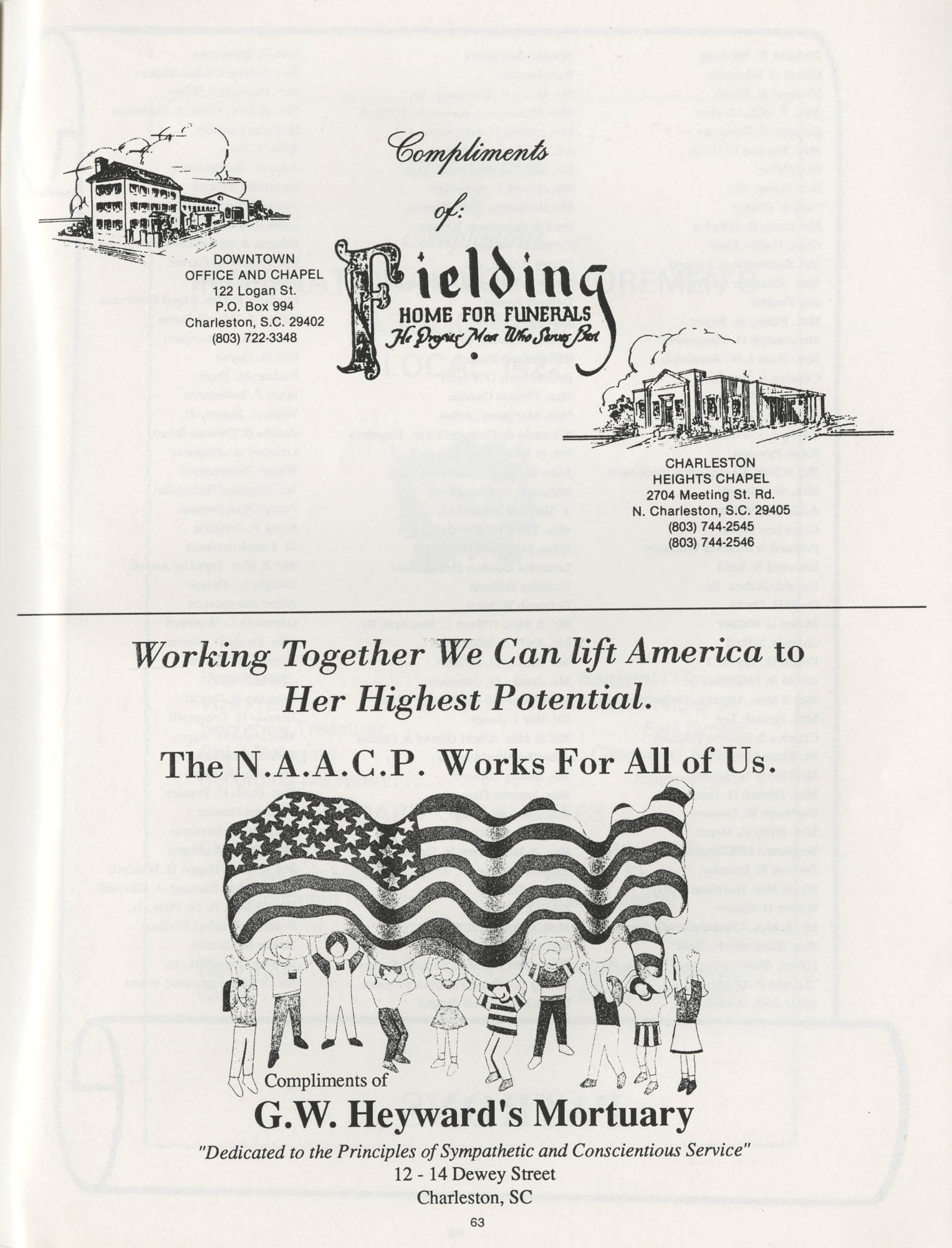 1990 NAACP Freedom Fund Magazine, Charleston Branch of the NAACP, 74th Anniversary, Page 63