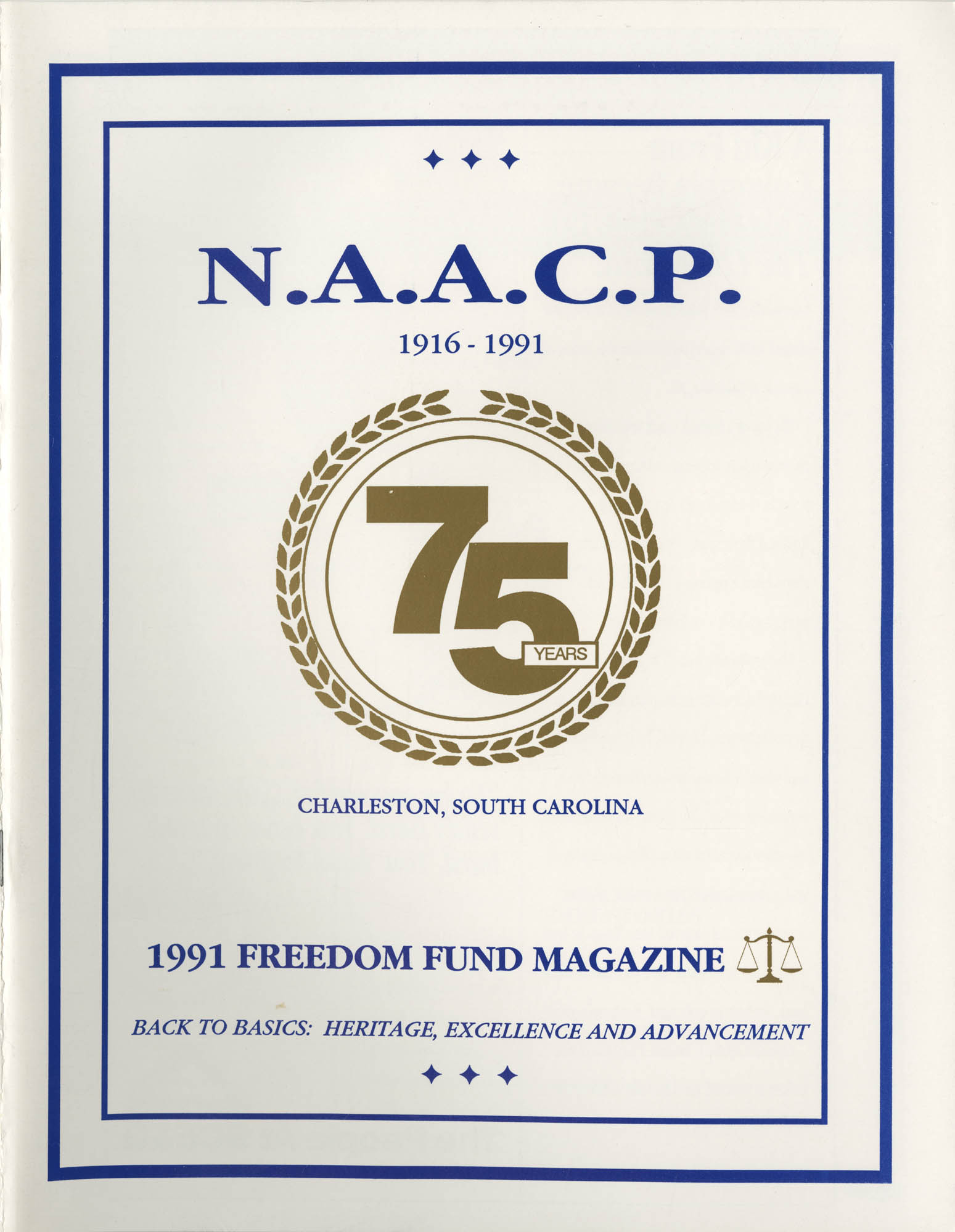 1991 Freedom Fund Magazine, Charleston Branch of the NAACP, Cover Page