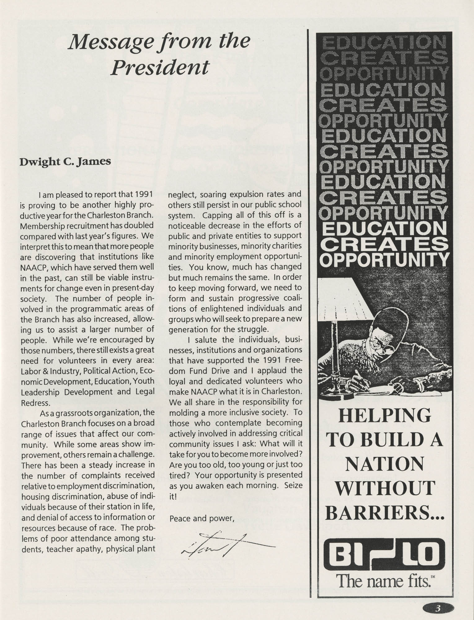 1991 Freedom Fund Magazine, Charleston Branch of the NAACP, Page 3