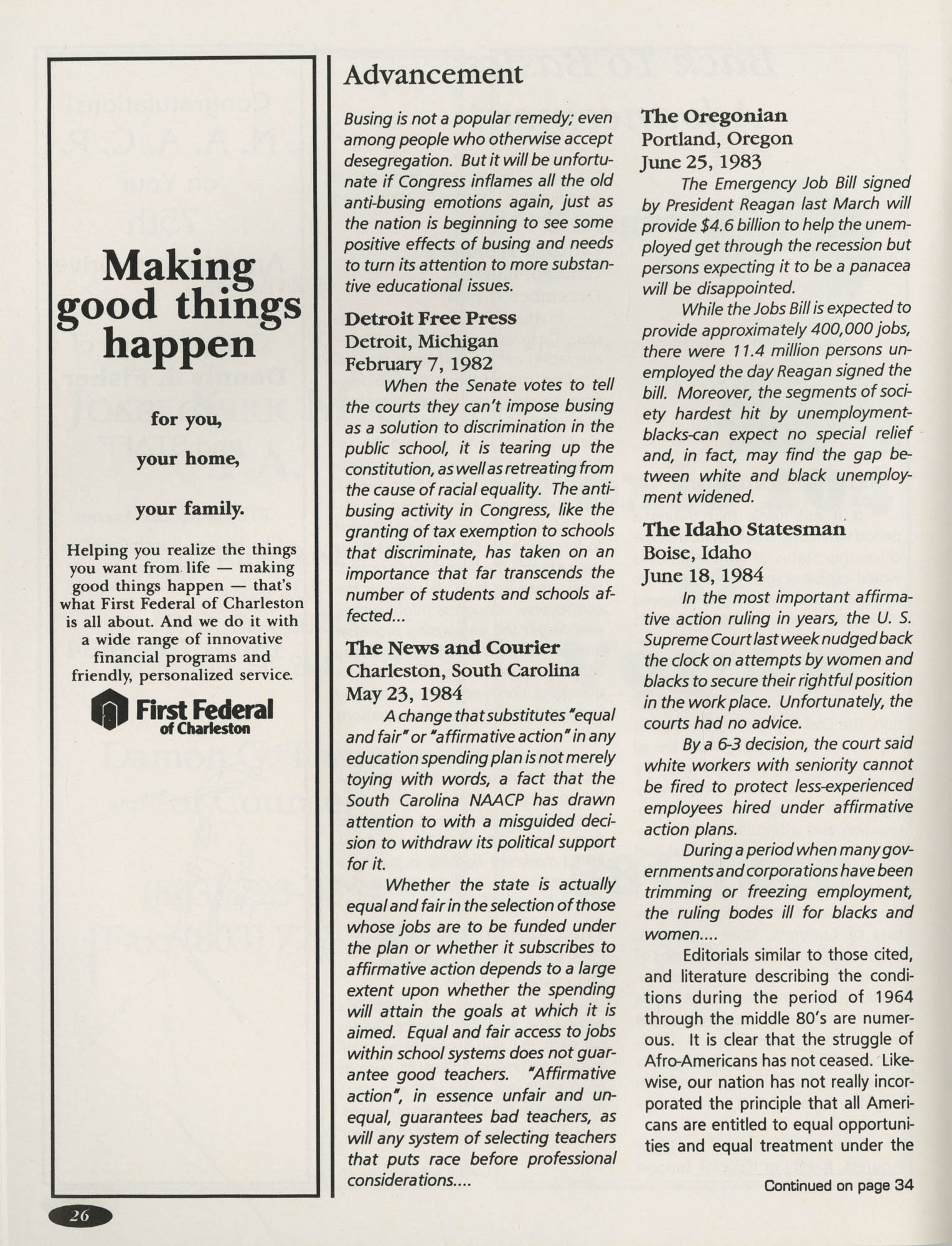 1991 Freedom Fund Magazine, Charleston Branch of the NAACP, Page 26