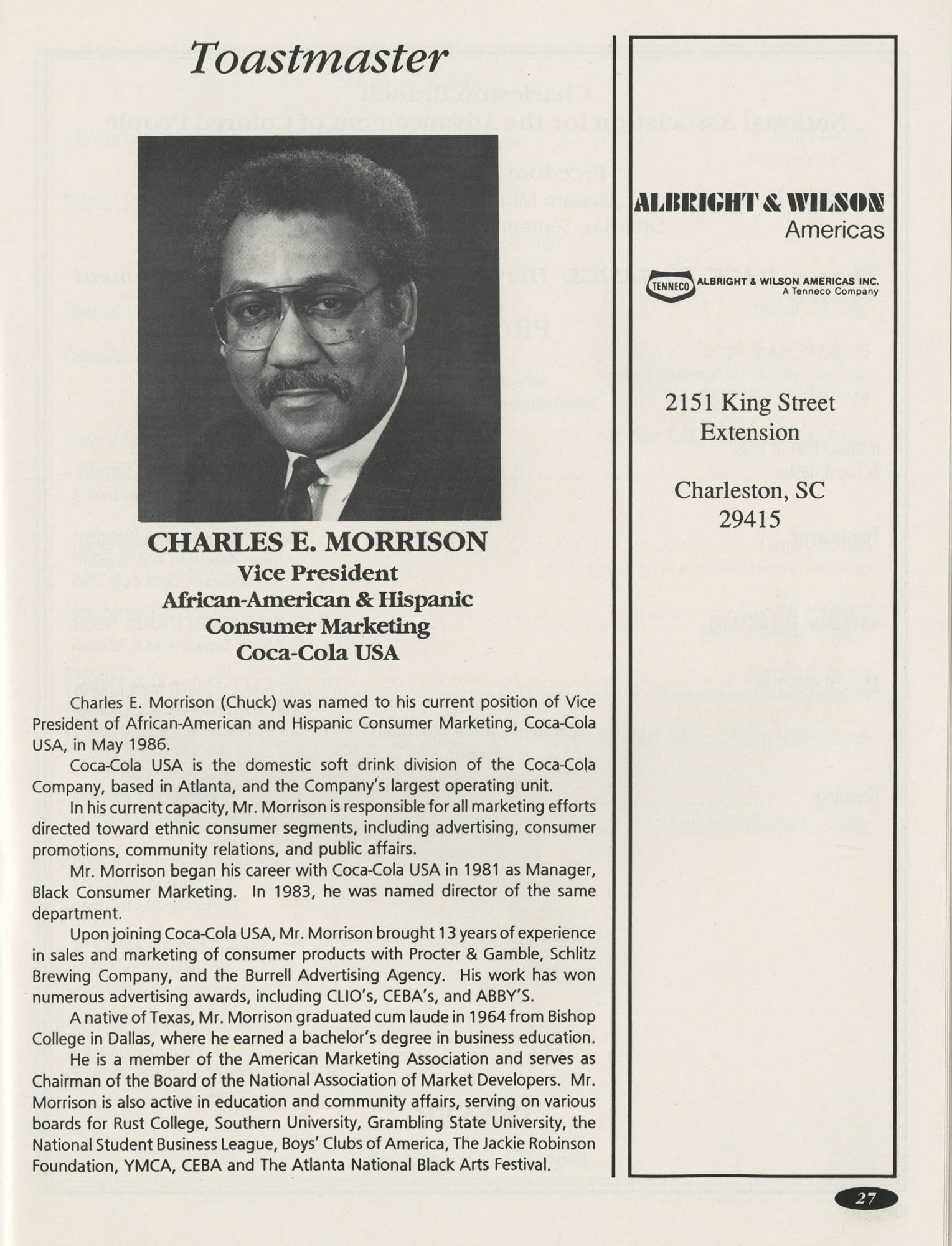 1991 Freedom Fund Magazine, Charleston Branch of the NAACP, Page 27