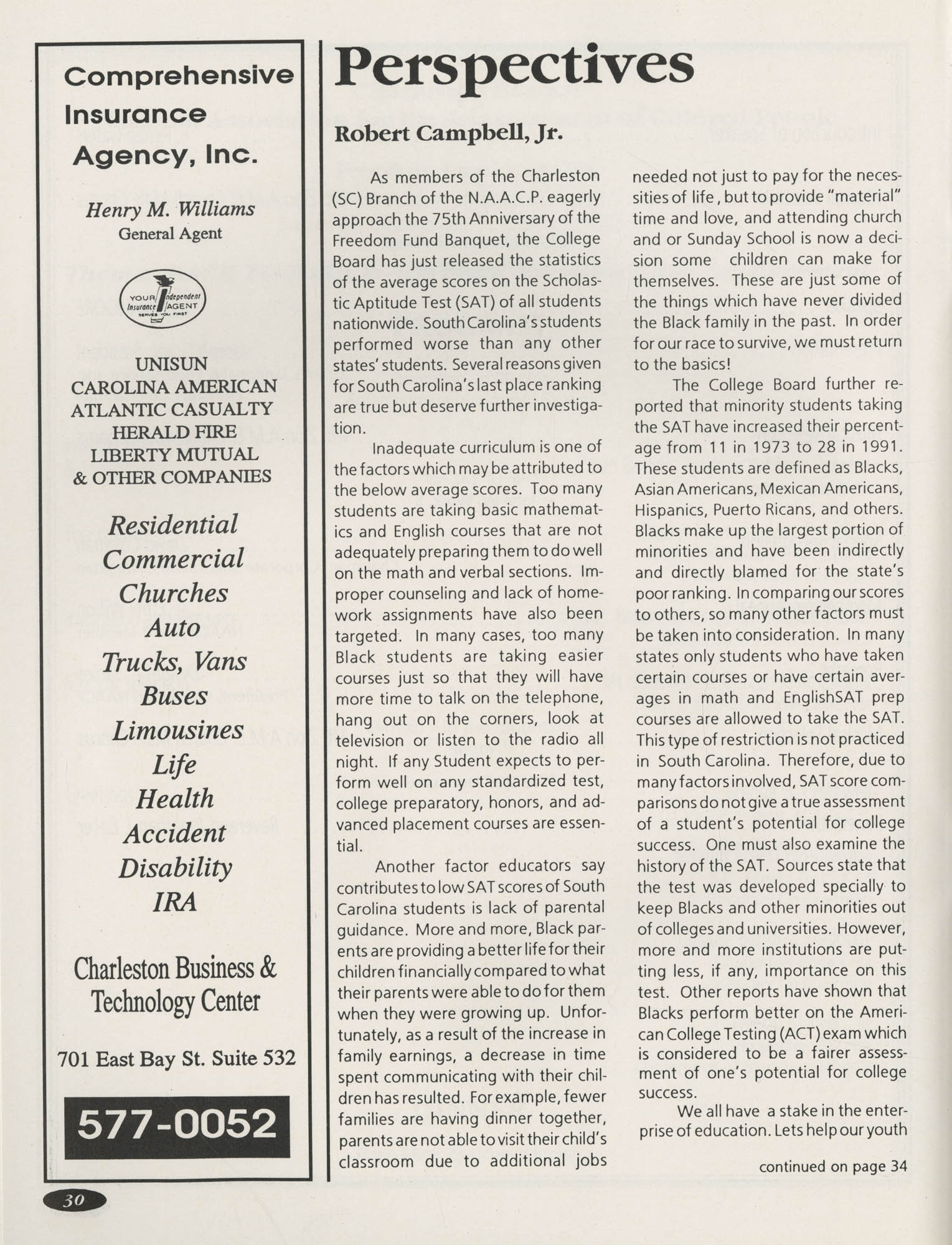 1991 Freedom Fund Magazine, Charleston Branch of the NAACP, Page 30