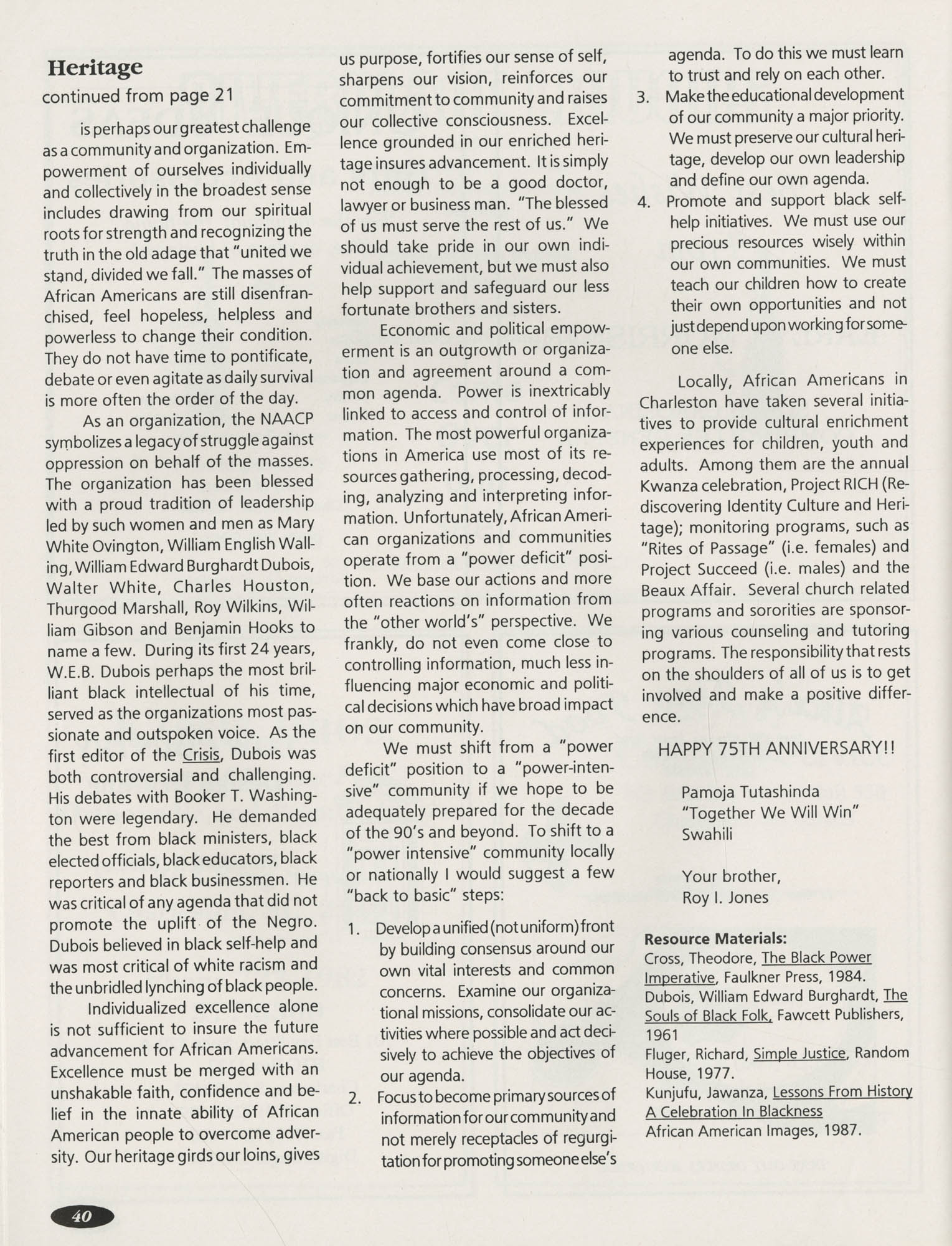 1991 Freedom Fund Magazine, Charleston Branch of the NAACP, Page 40