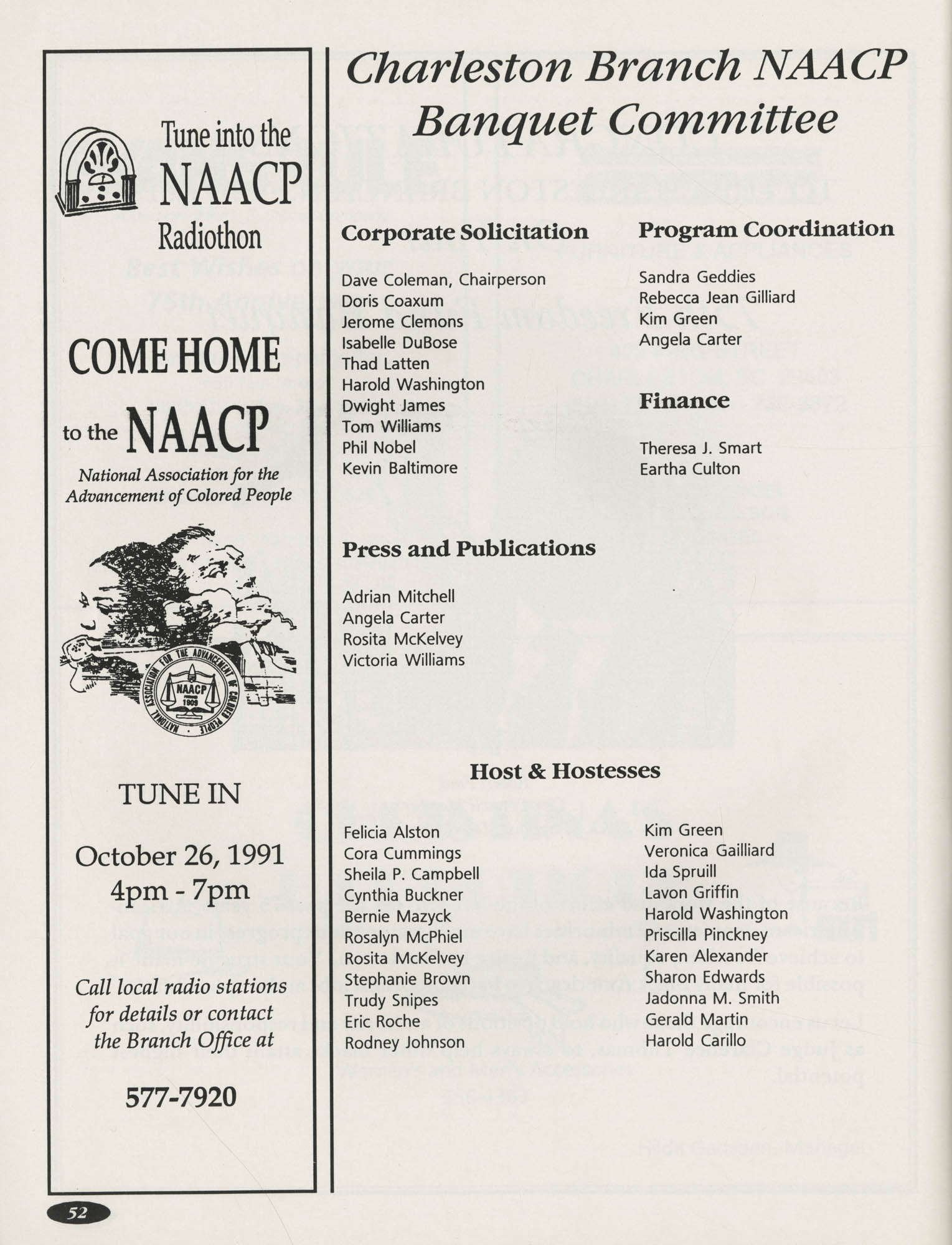 1991 Freedom Fund Magazine, Charleston Branch of the NAACP, Page 52