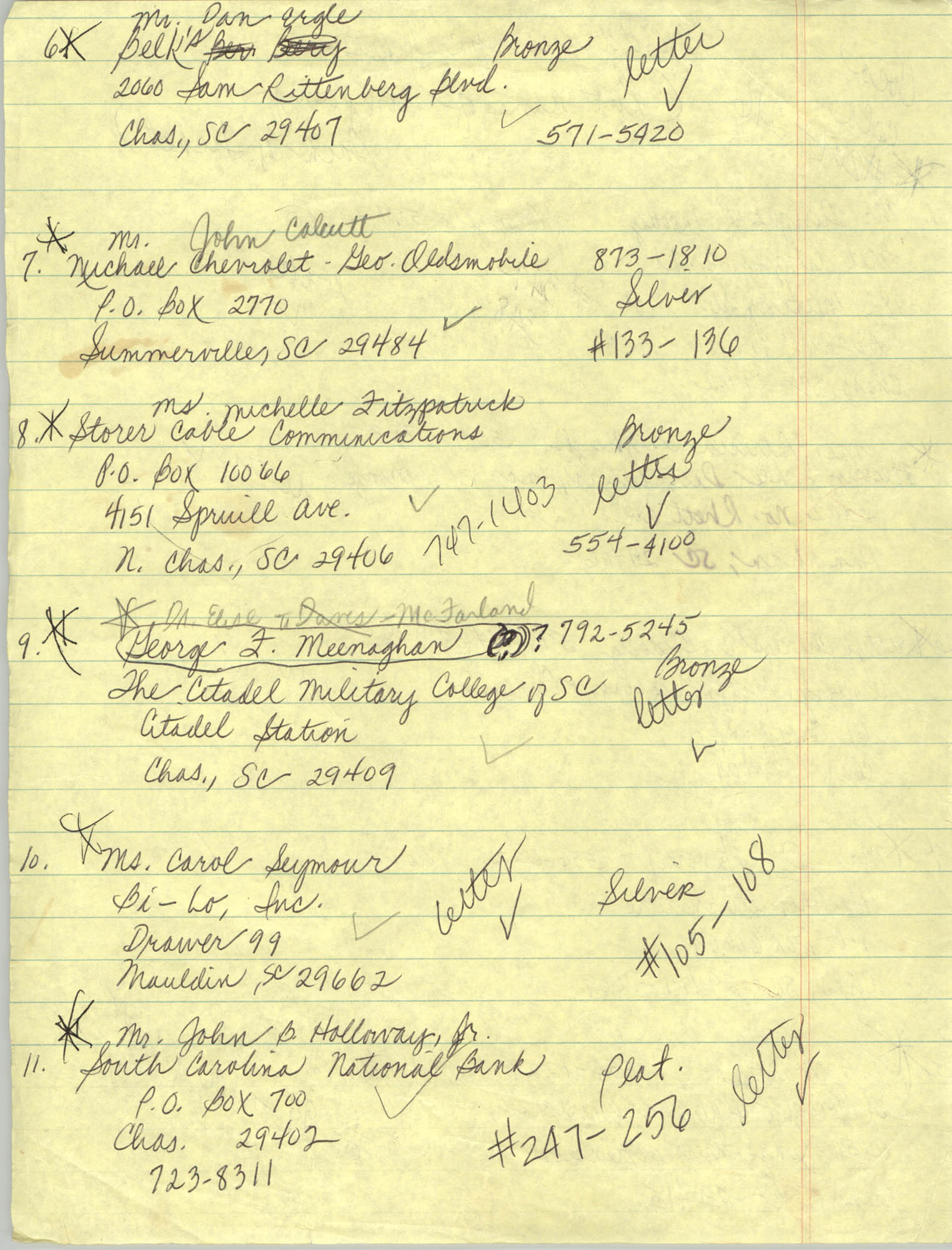 Handwritten Addresses for Tickets, Page 2