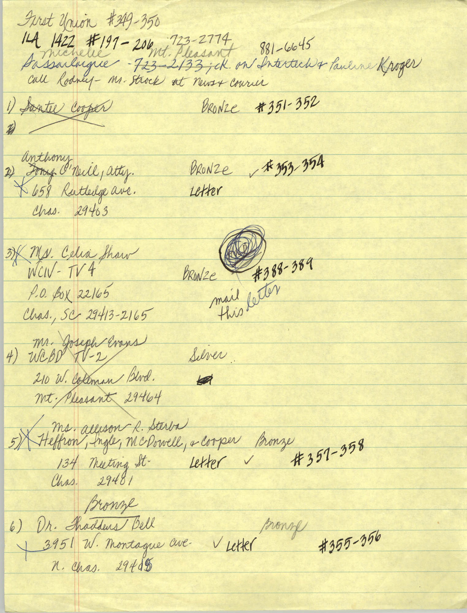 Handwritten Addresses for Tickets, Page 6