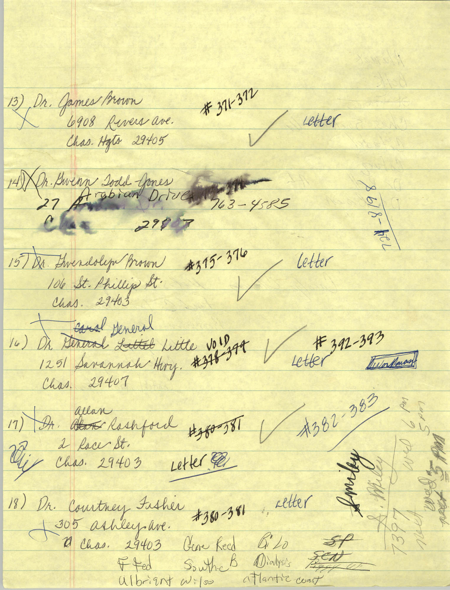 Handwritten Addresses for Tickets, Page 8