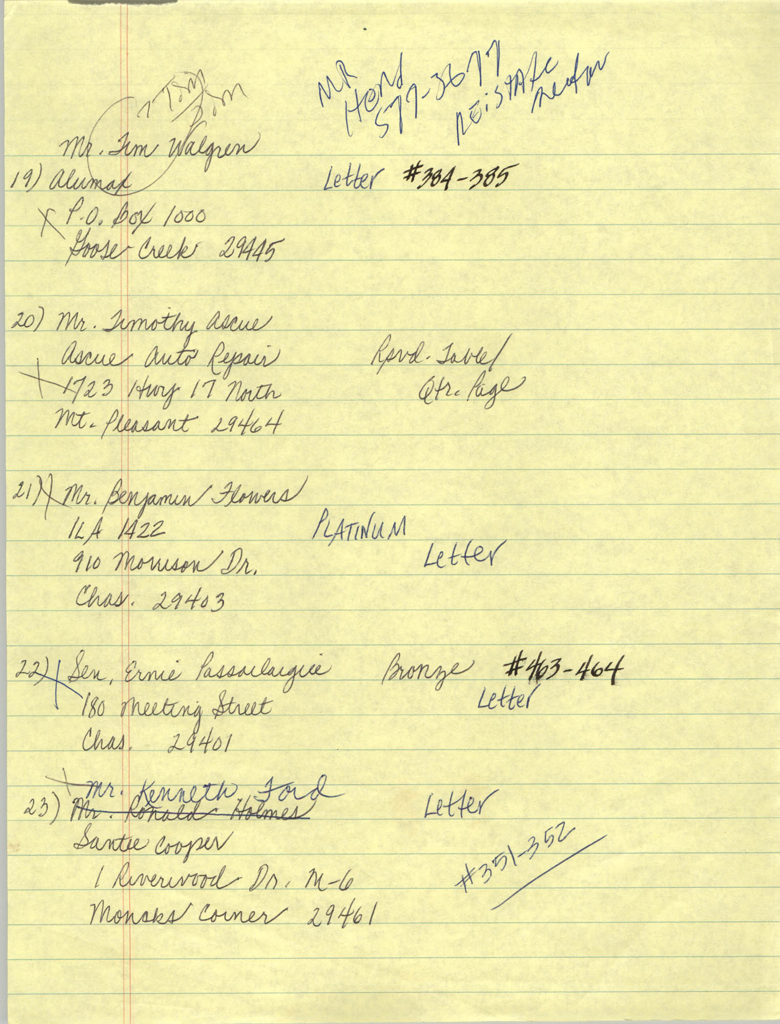 Handwritten Addresses for Tickets, Page 10