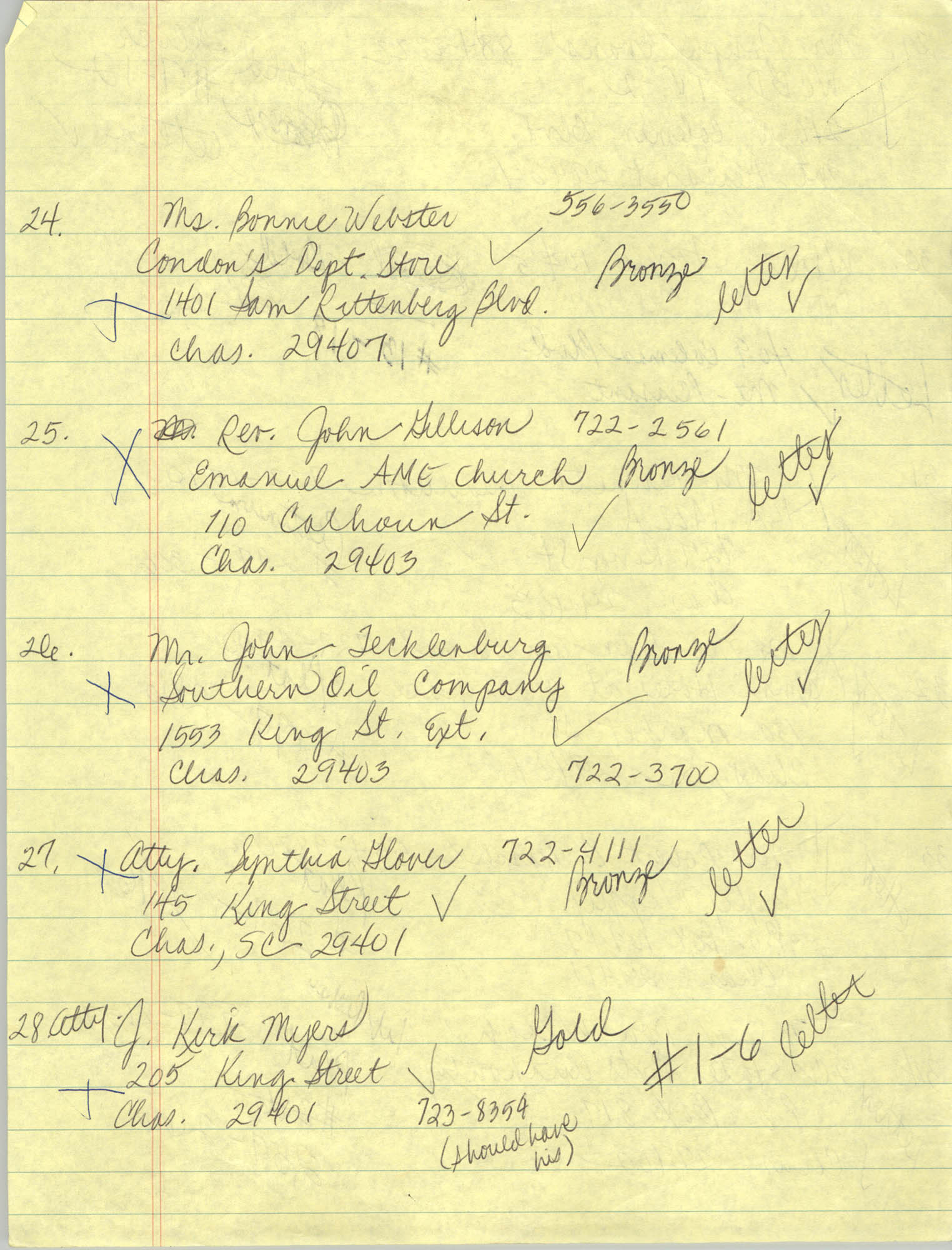Handwritten Addresses for Tickets, Page 11