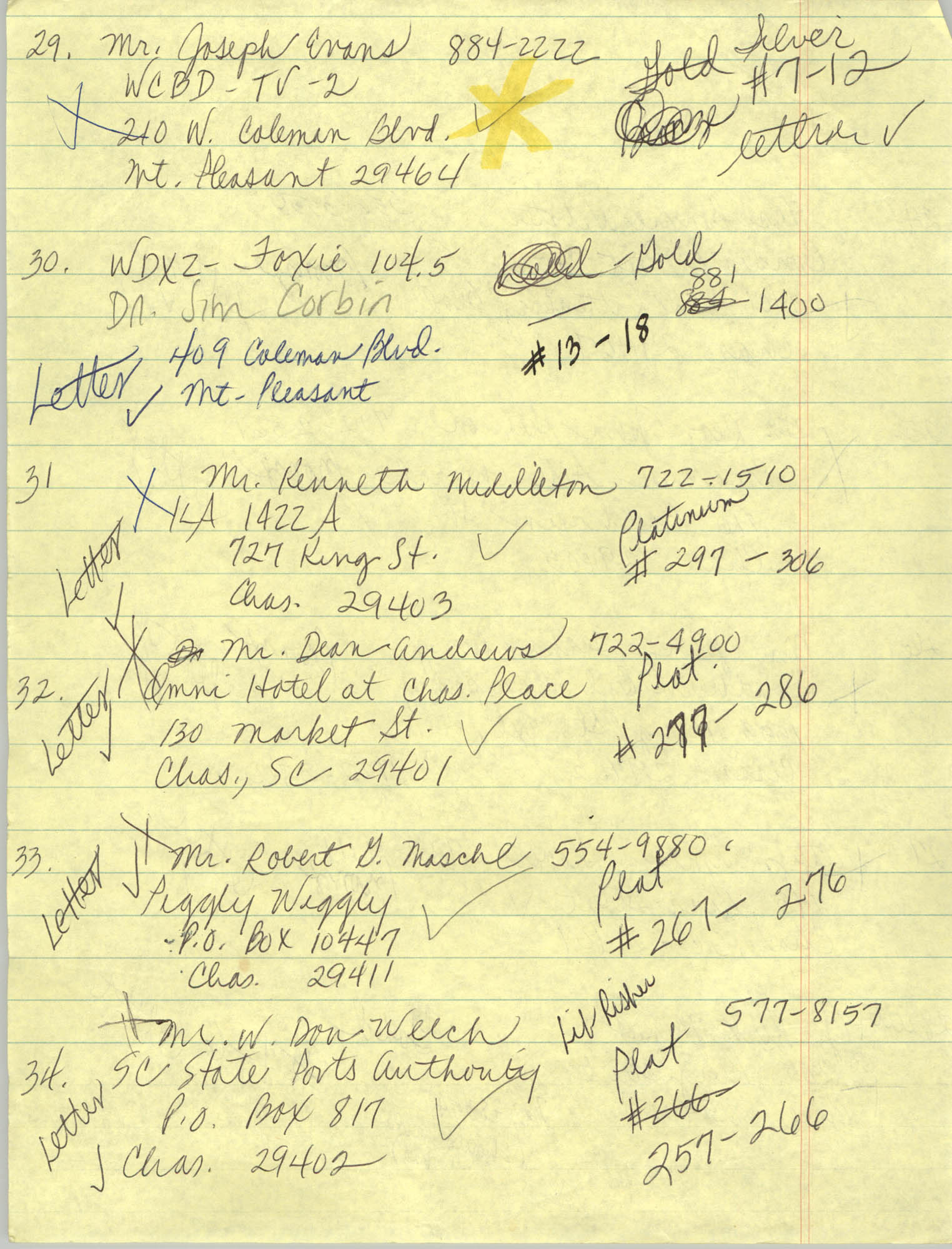 Handwritten Addresses for Tickets, Page 12