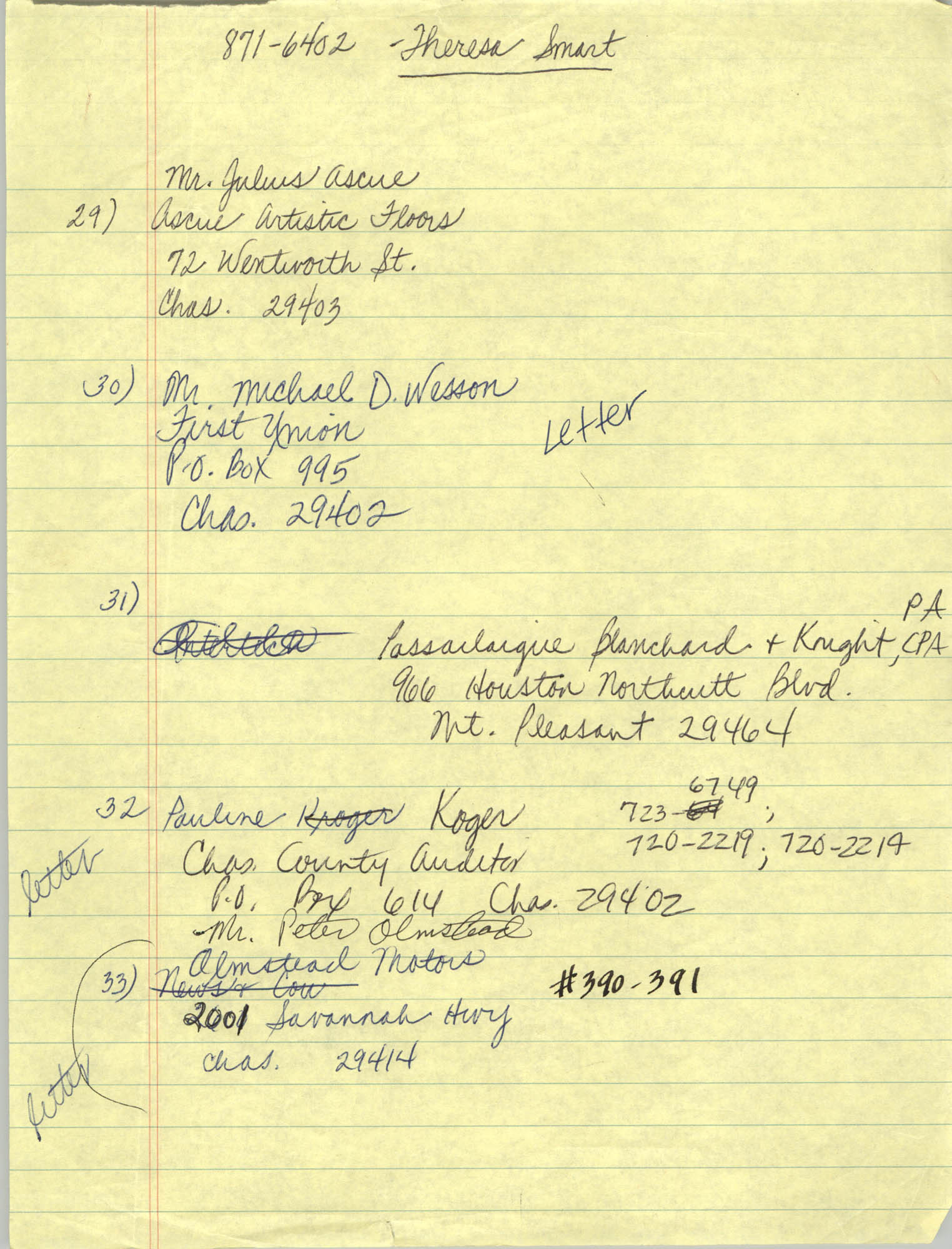 Handwritten Addresses for Tickets, Page 13
