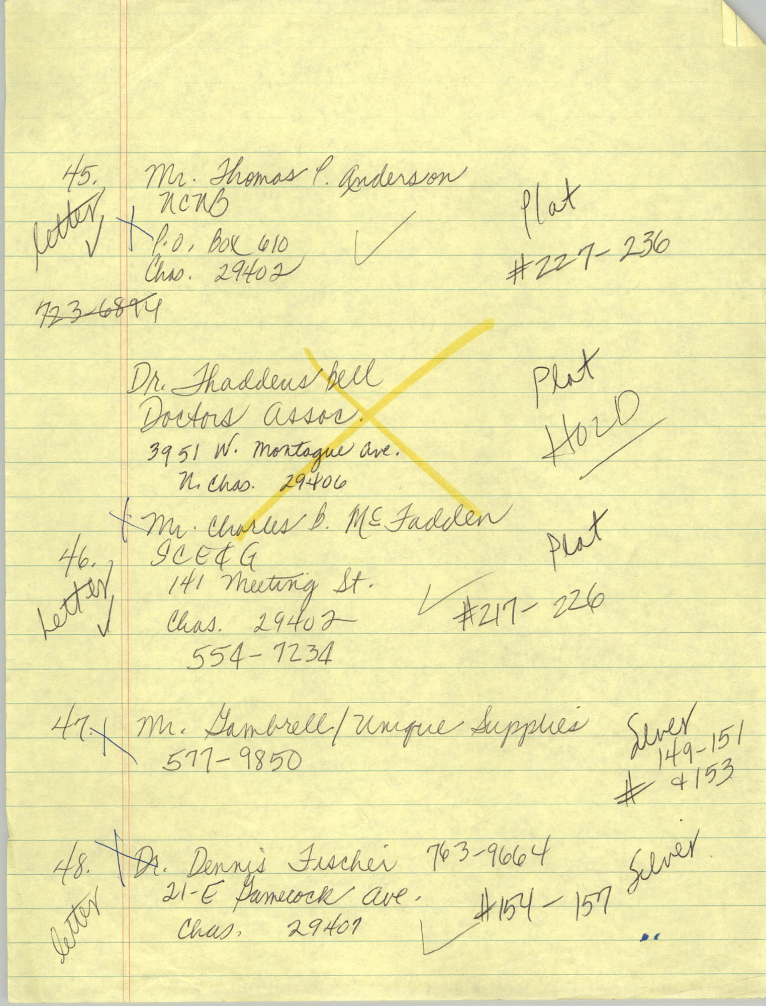 Handwritten Addresses for Tickets, Page 15