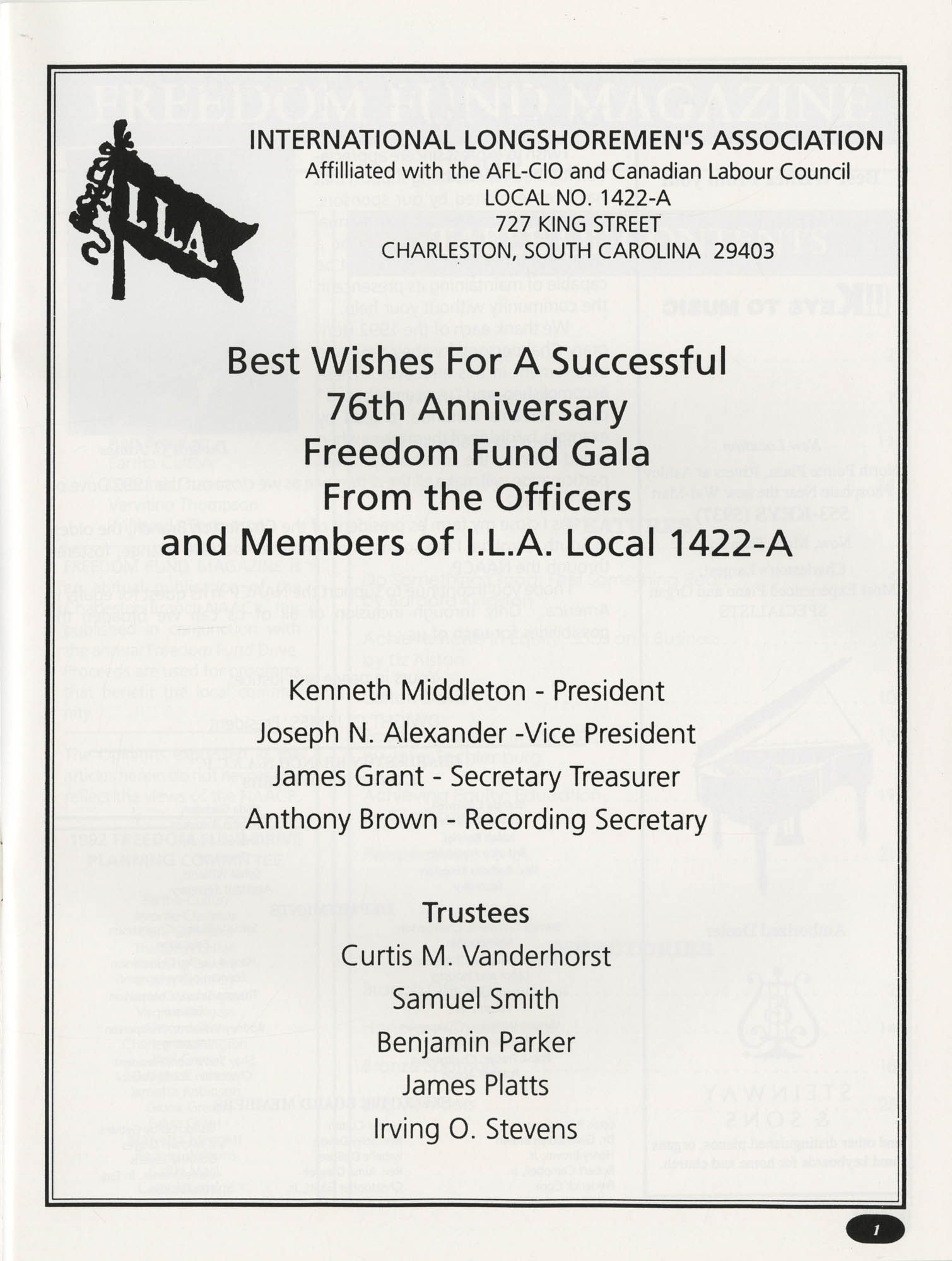 Freedom Fund Magazine, 1992, Page 1