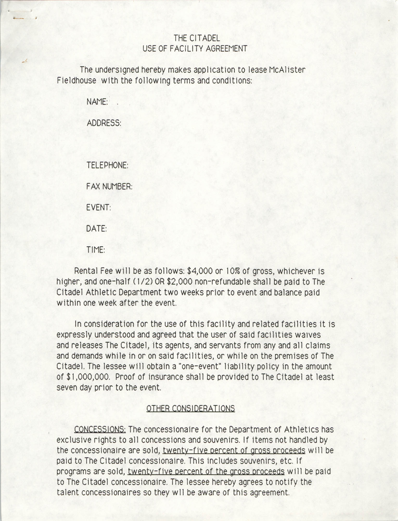 The Citadel Use of Facility Agreement, Page 1