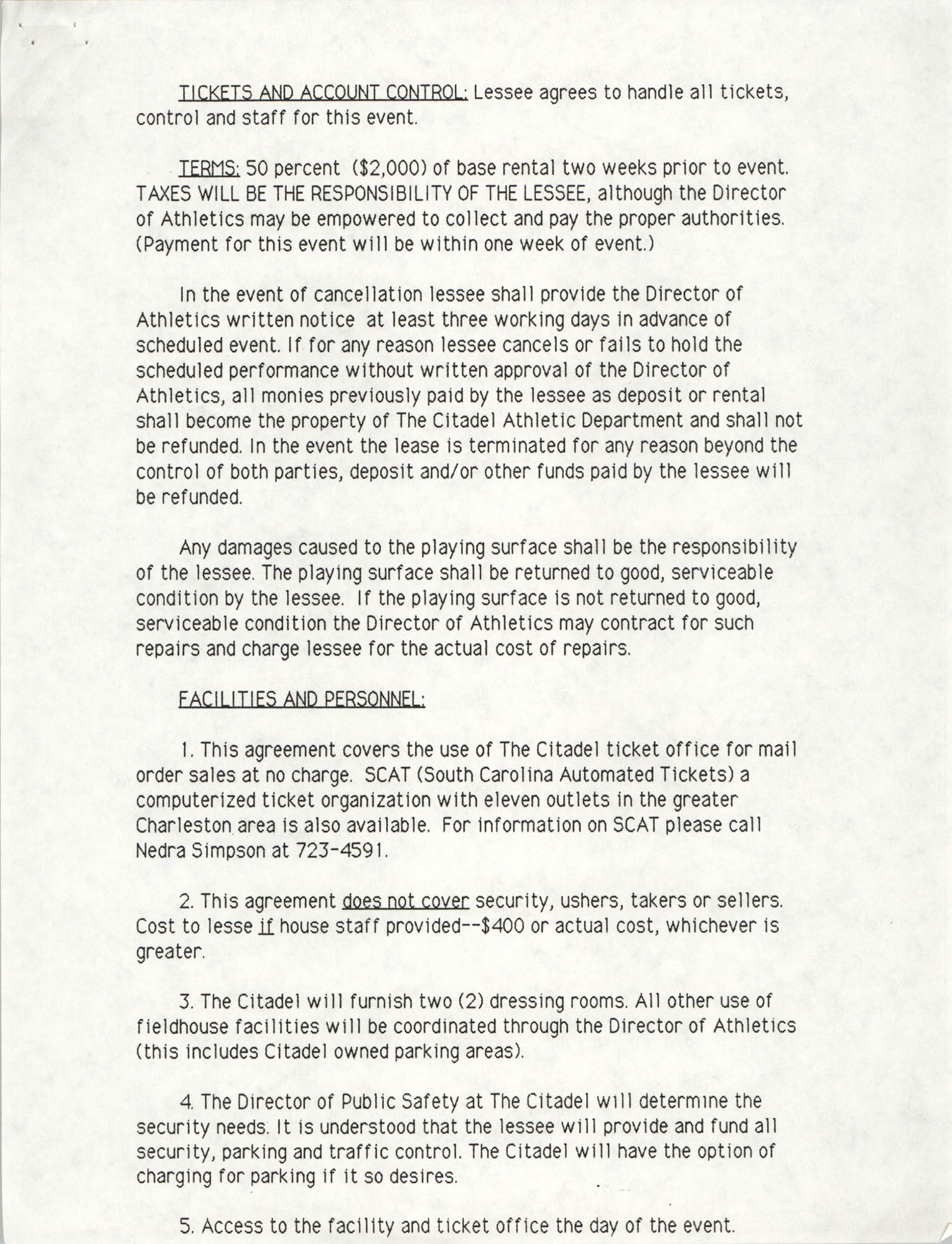 The Citadel Use of Facility Agreement, Page 2