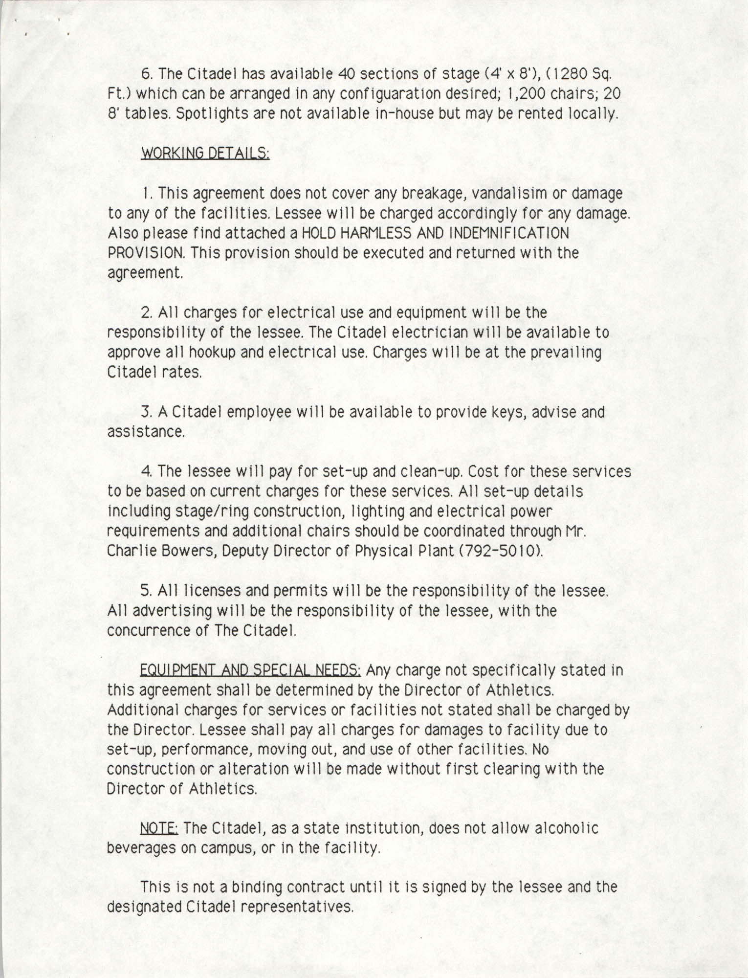 The Citadel Use of Facility Agreement, Page 3