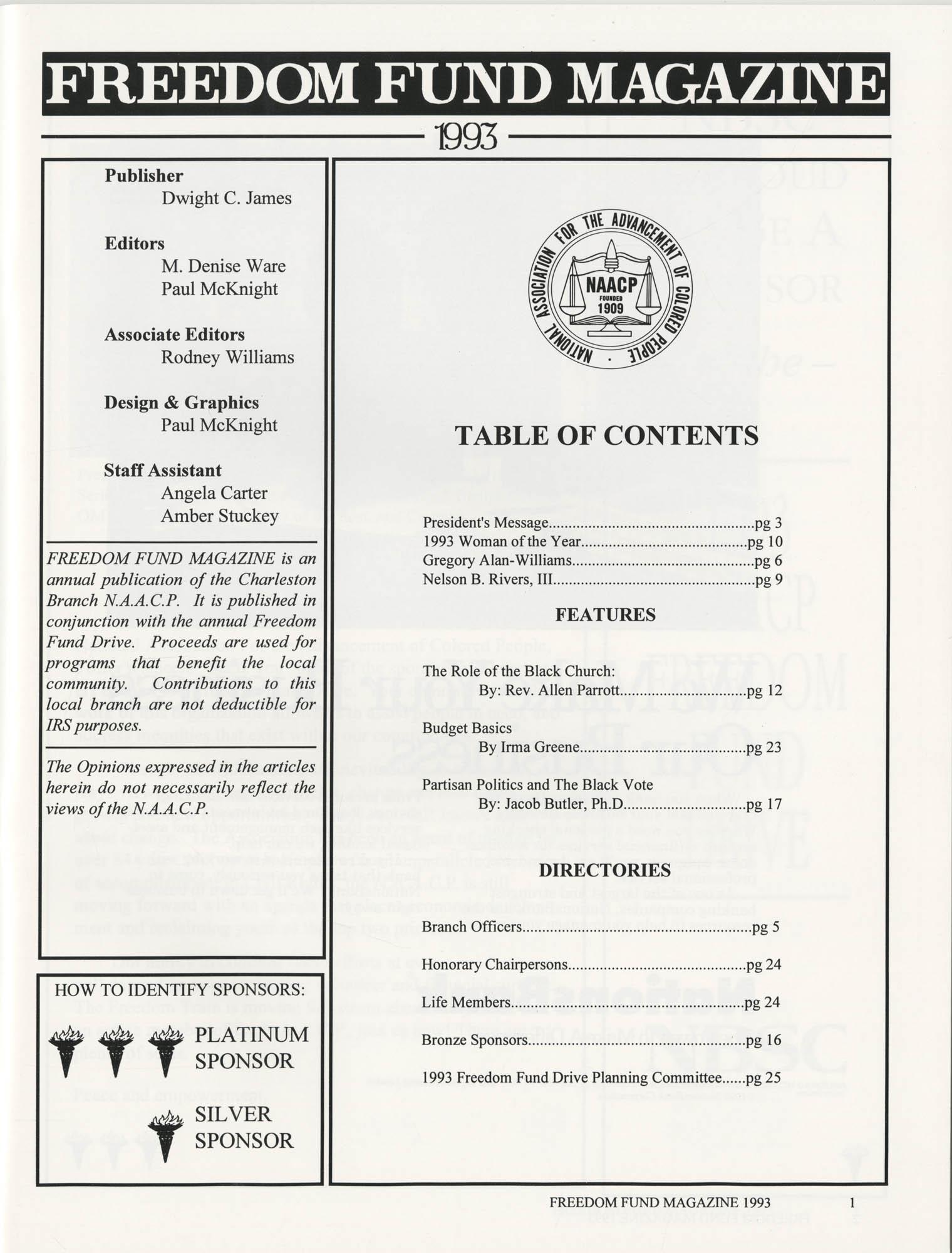 Freedom Fund Magazine, 1993, Page 1