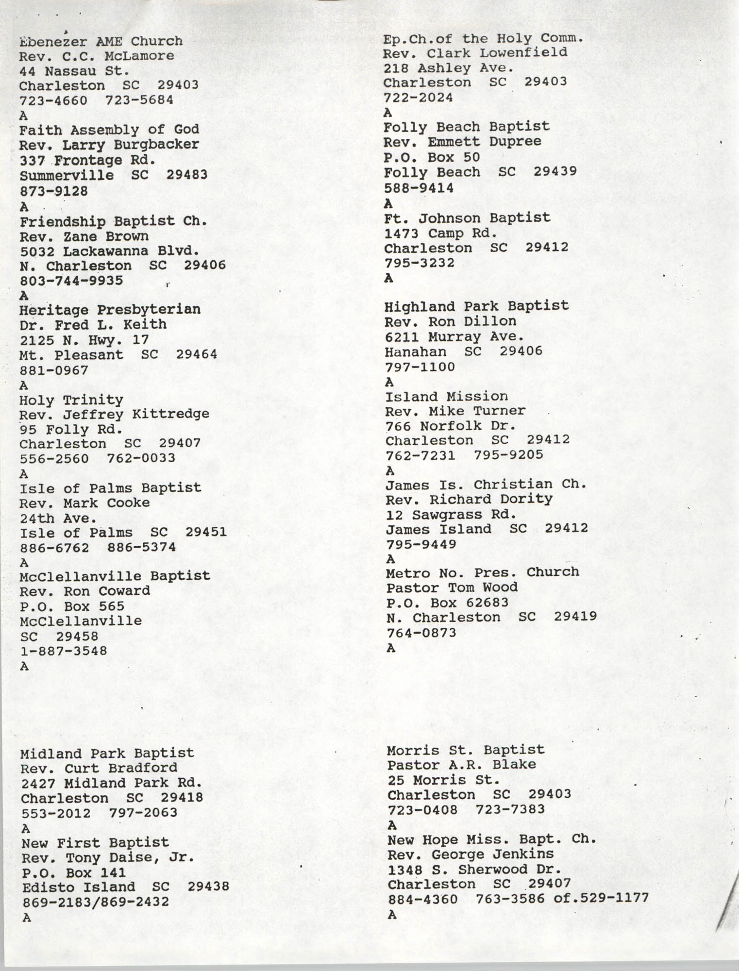 Church Contact List, Charleston Chapter of the NAACP, Page 2