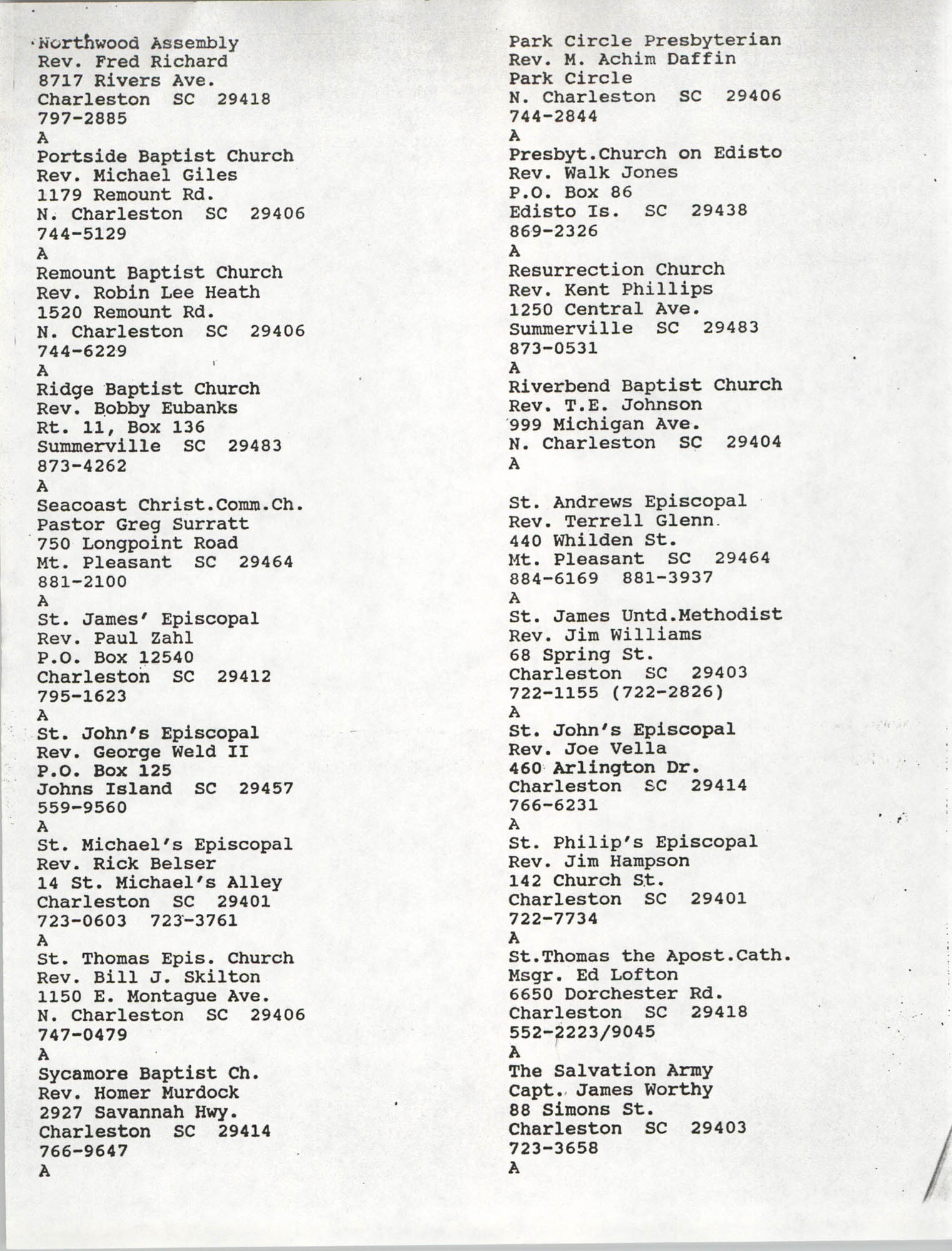 Church Contact List, Charleston Chapter of the NAACP, Page 3