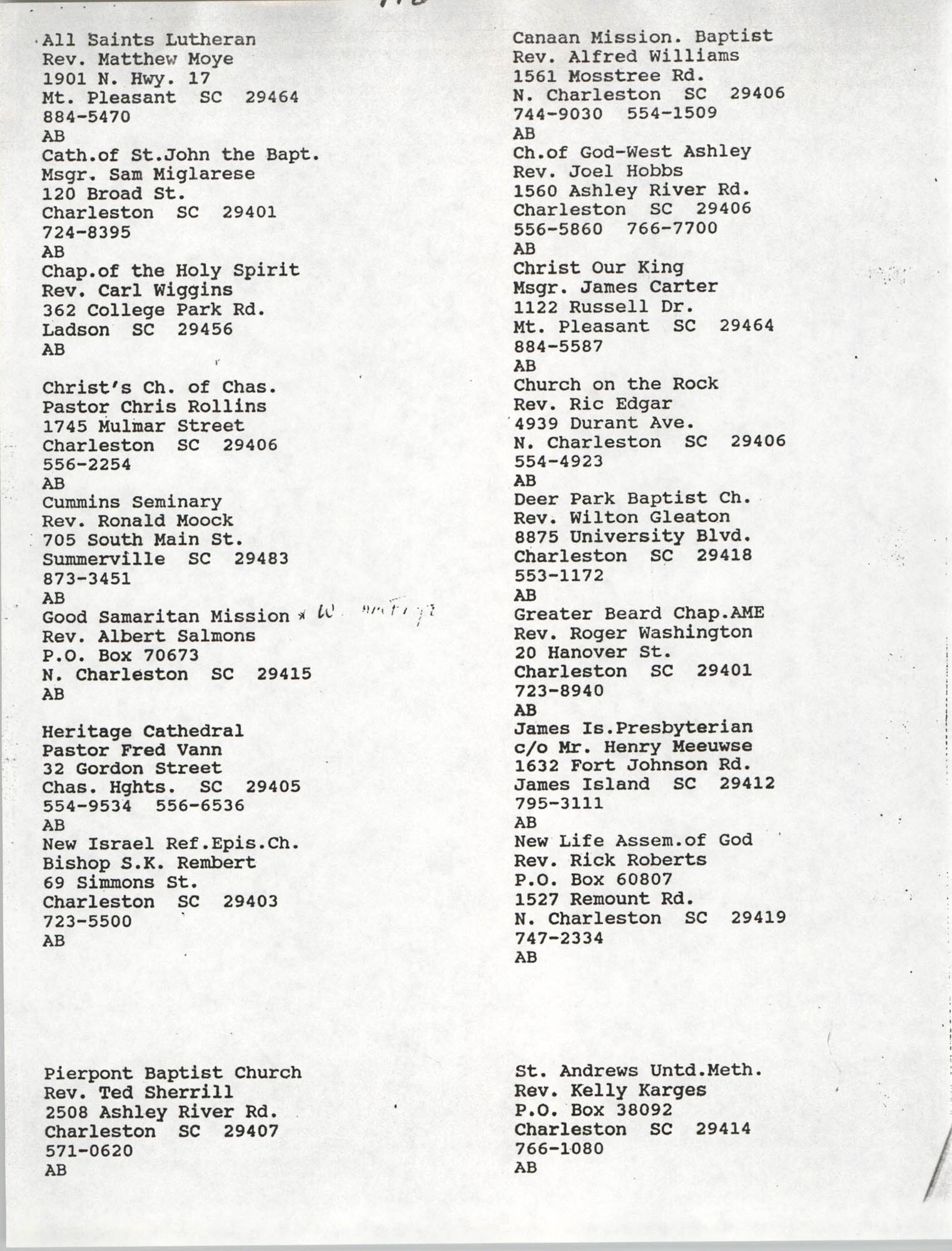 Church Contact List, Charleston Chapter of the NAACP, Page 5