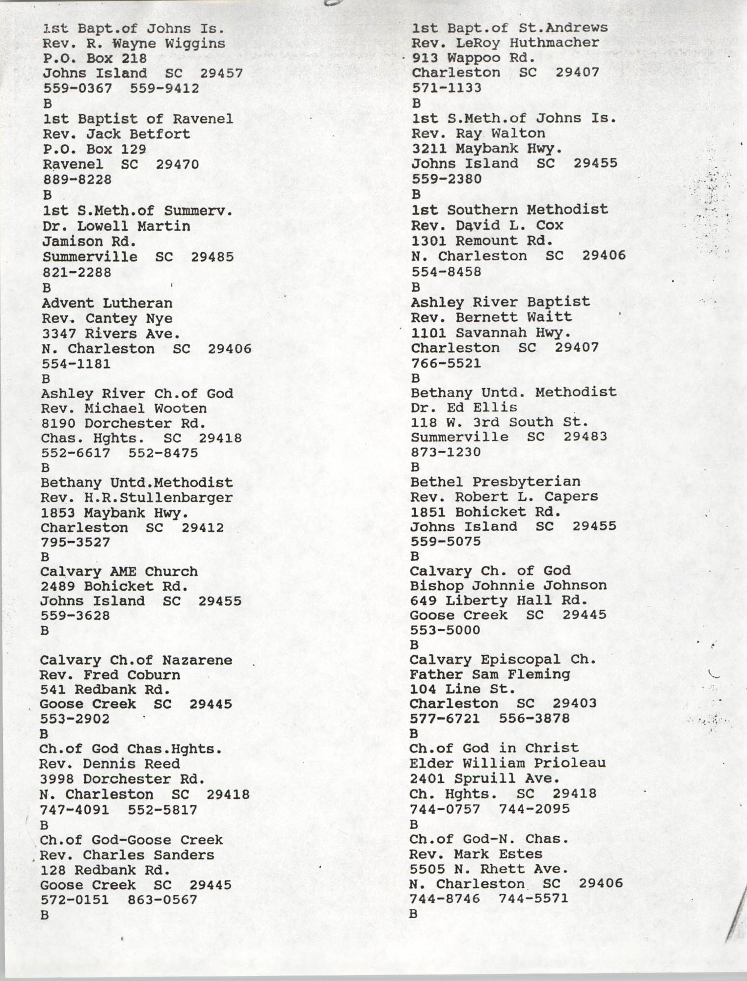 Church Contact List, Charleston Chapter of the NAACP, Page 7