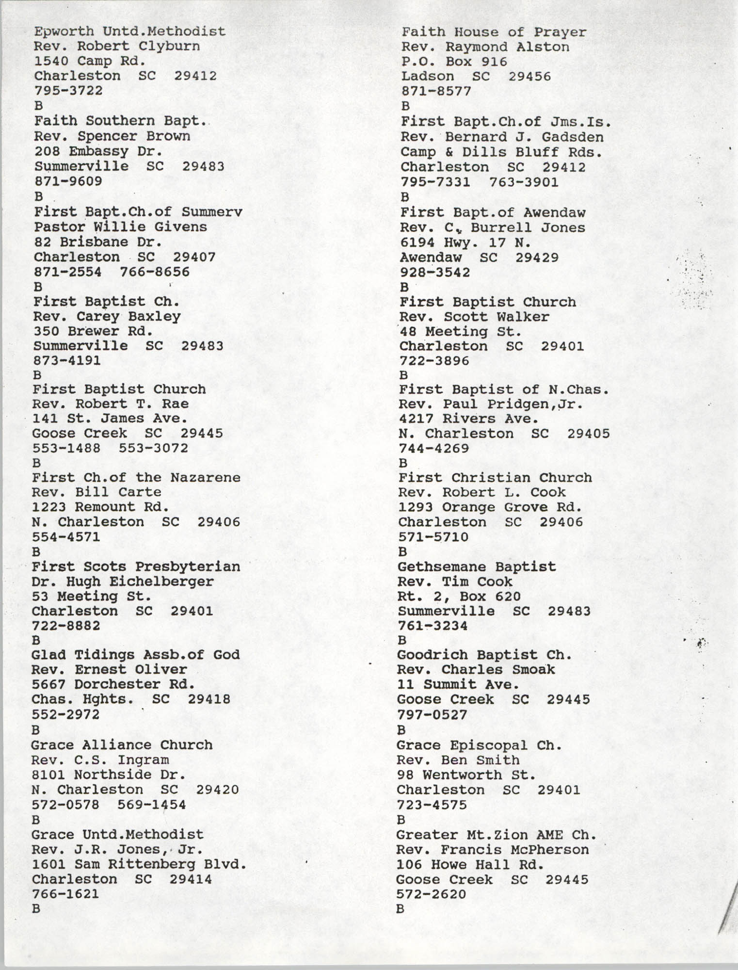 Church Contact List, Charleston Chapter of the NAACP, Page 9