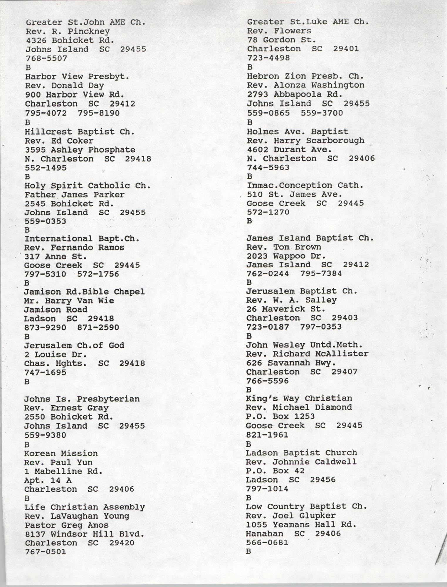 Church Contact List, Charleston Chapter of the NAACP, Page 10