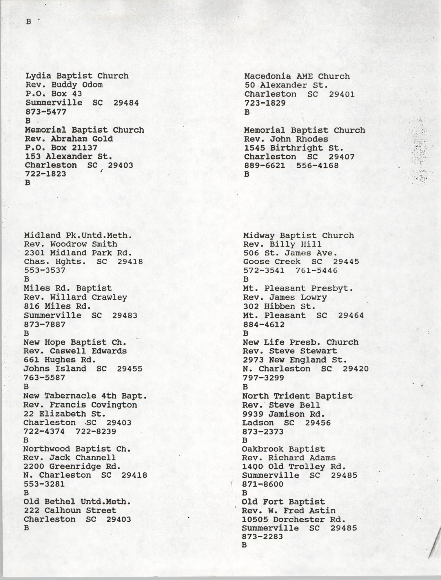 Church Contact List, Charleston Chapter of the NAACP, Page 11