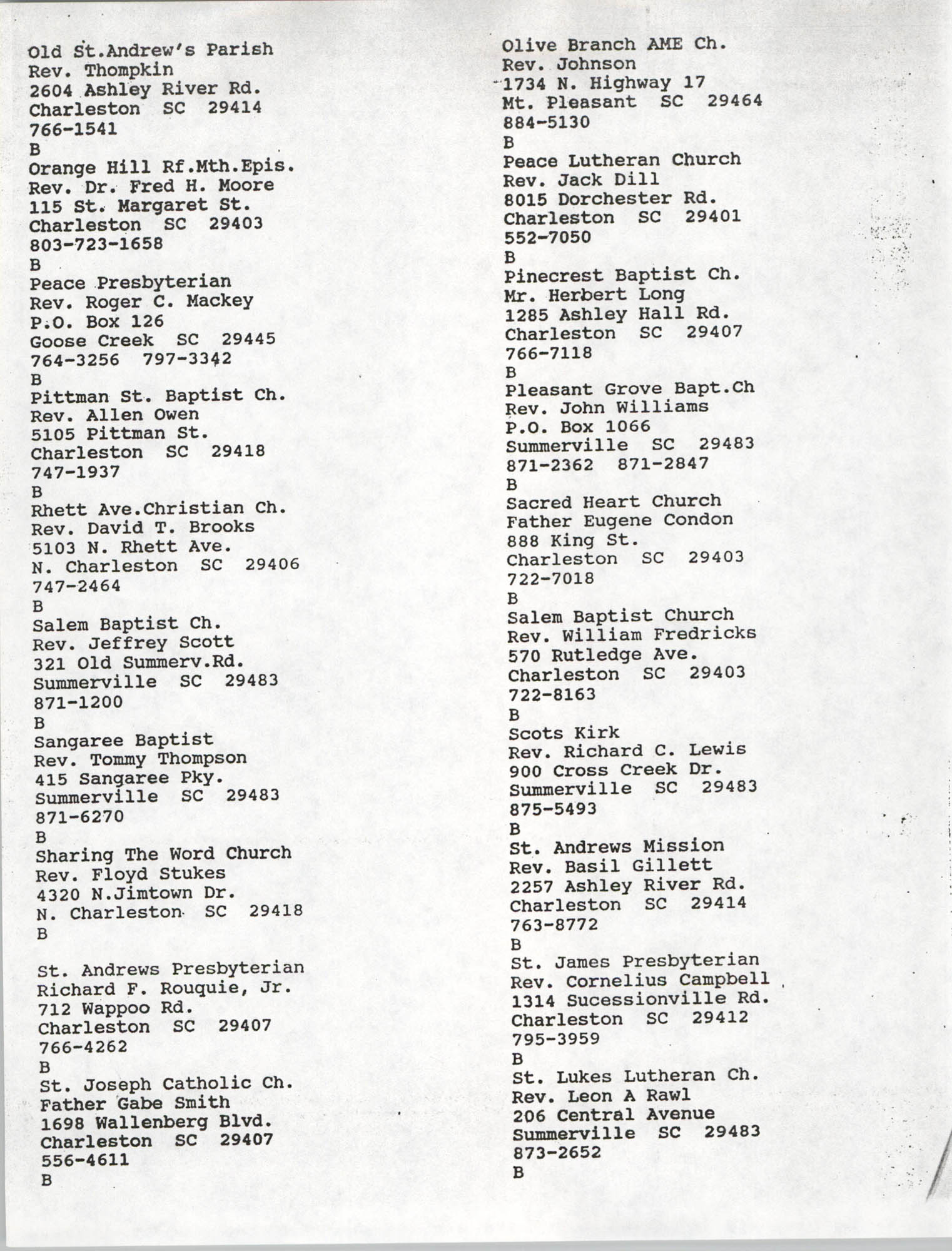 Church Contact List, Charleston Chapter of the NAACP, Page 12