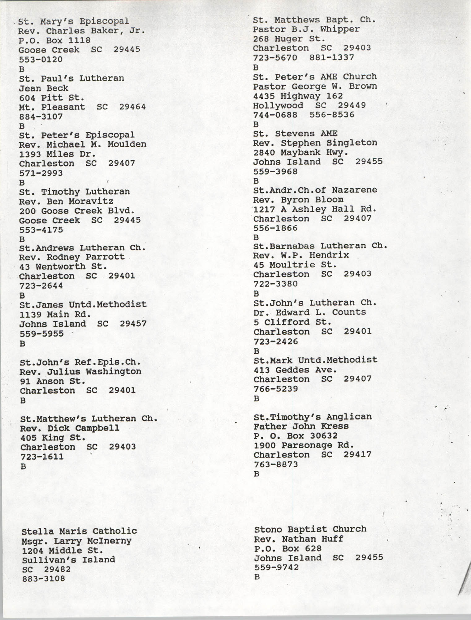Church Contact List, Charleston Chapter of the NAACP, Page 13