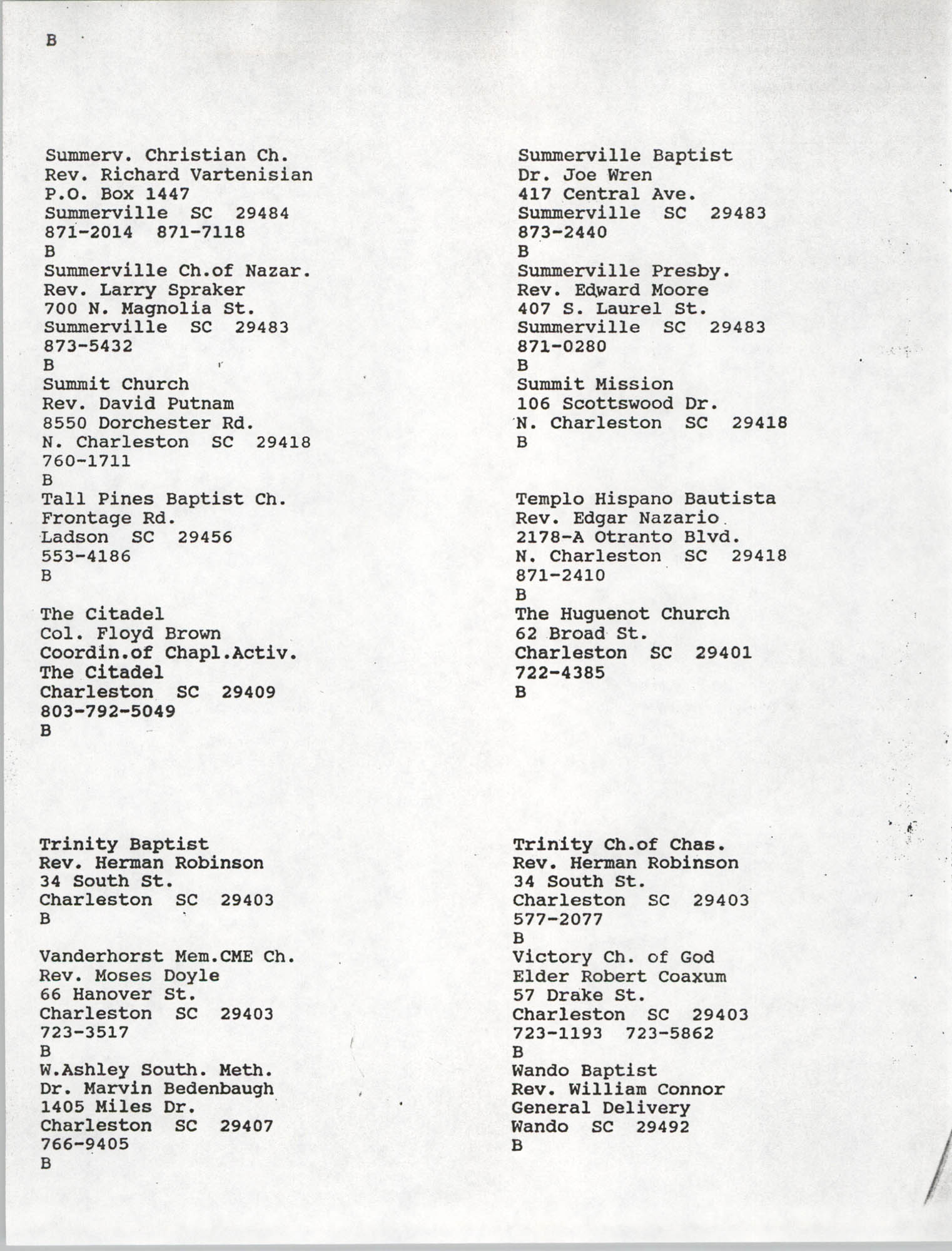 Church Contact List, Charleston Chapter of the NAACP, Page 14