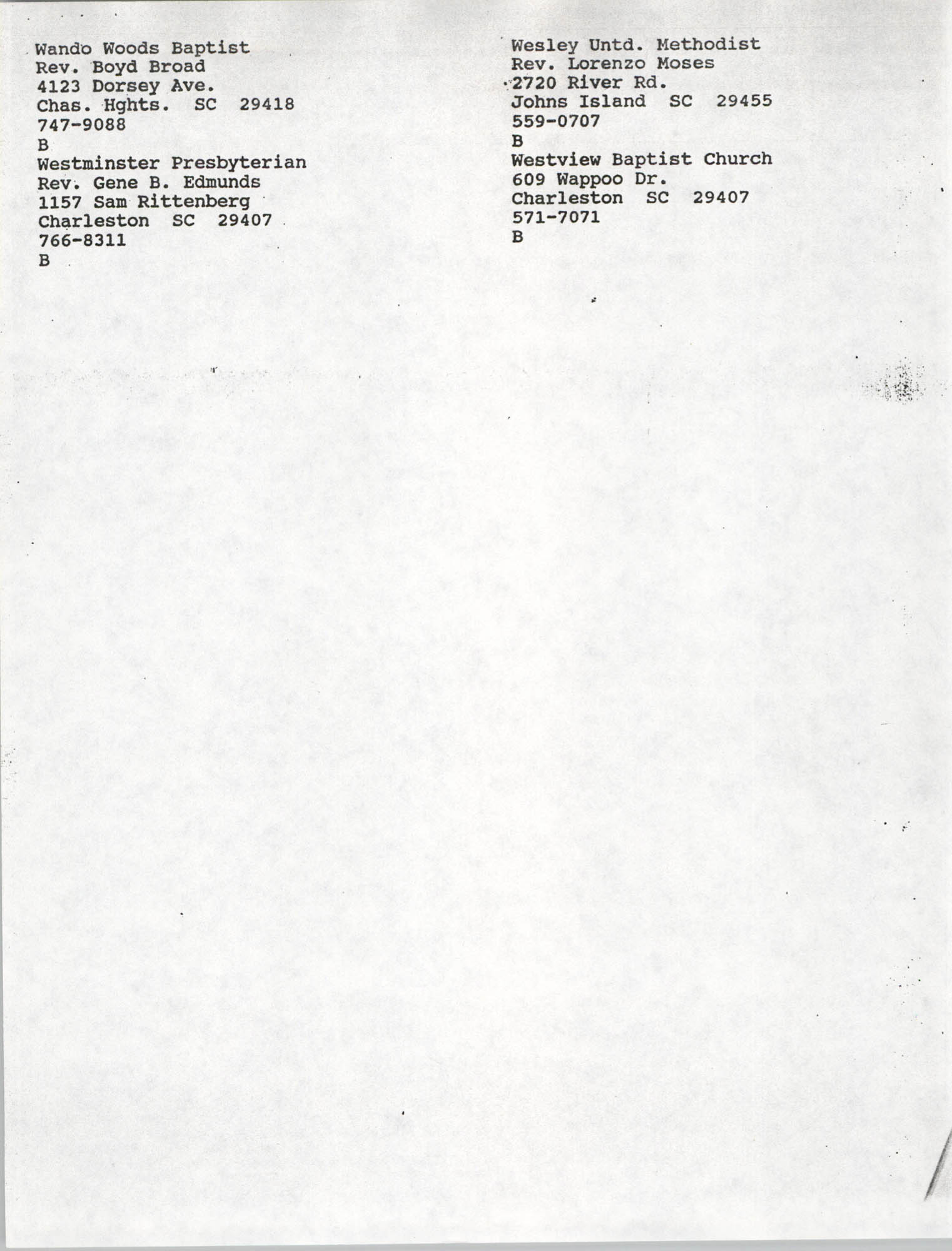 Church Contact List, Charleston Chapter of the NAACP, Page 15