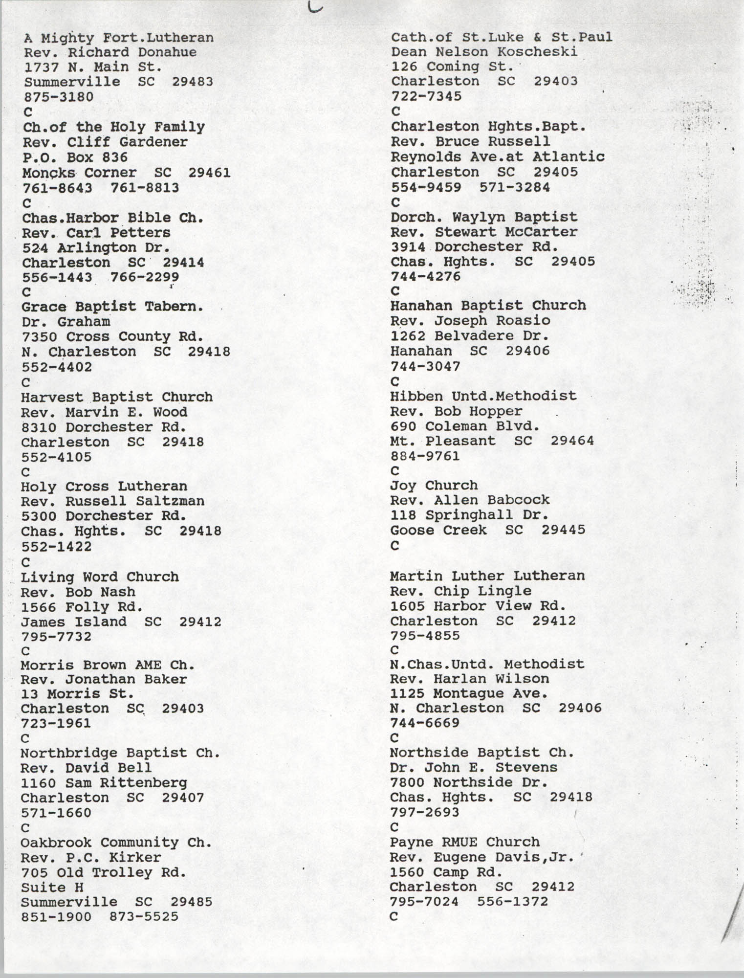 Church Contact List, Charleston Chapter of the NAACP, Page 16