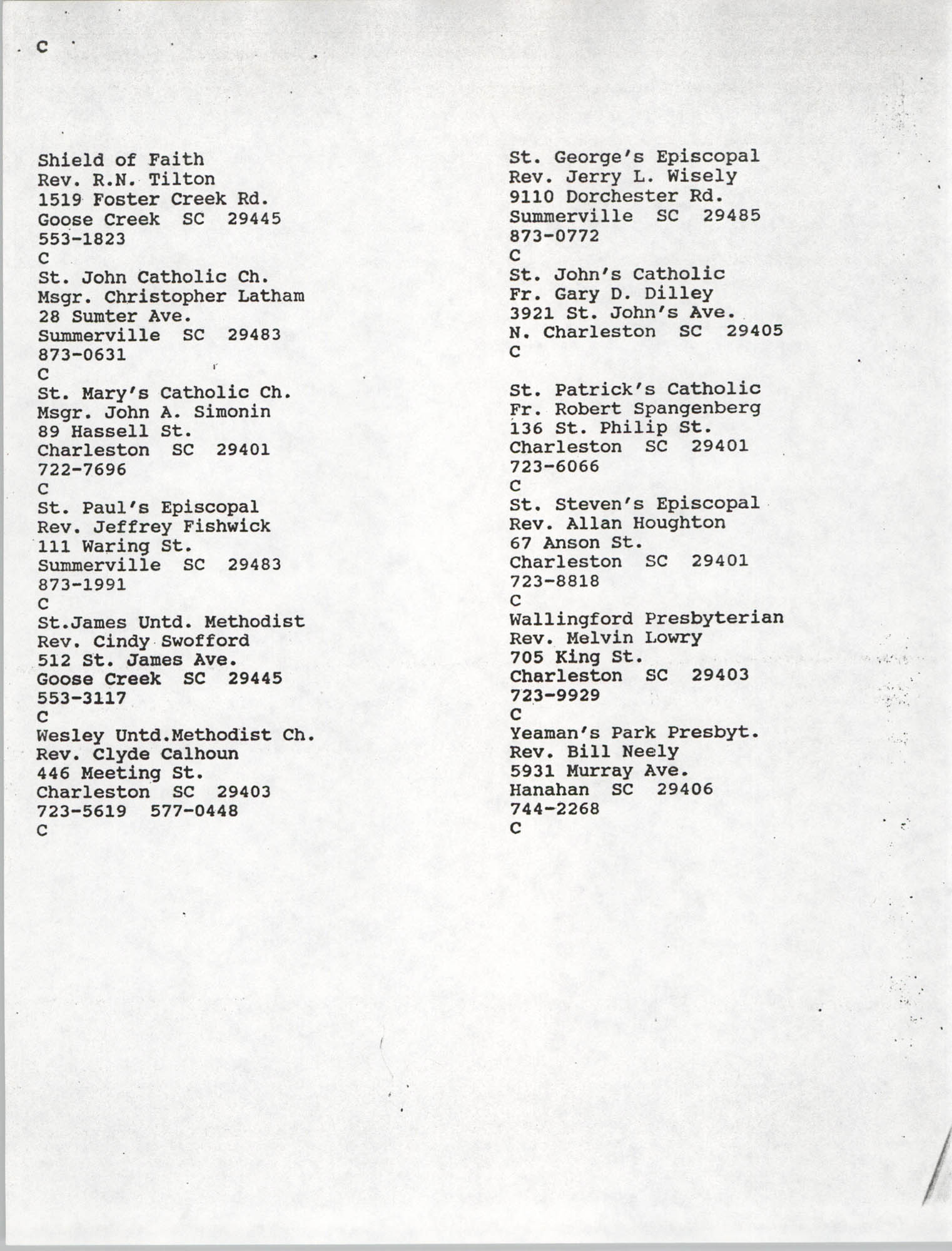 Church Contact List, Charleston Chapter of the NAACP, Page 17