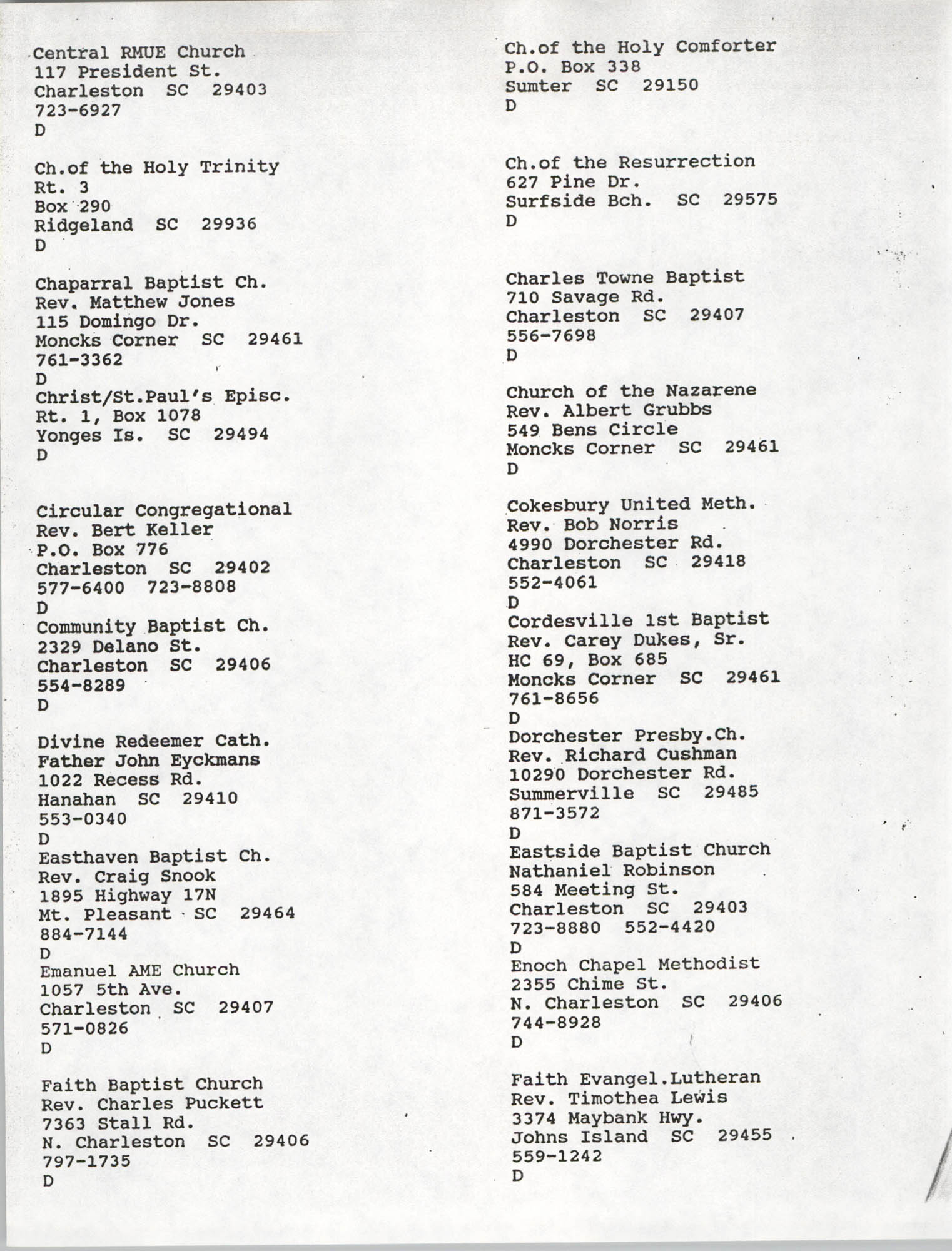 Church Contact List, Charleston Chapter of the NAACP, Page 19