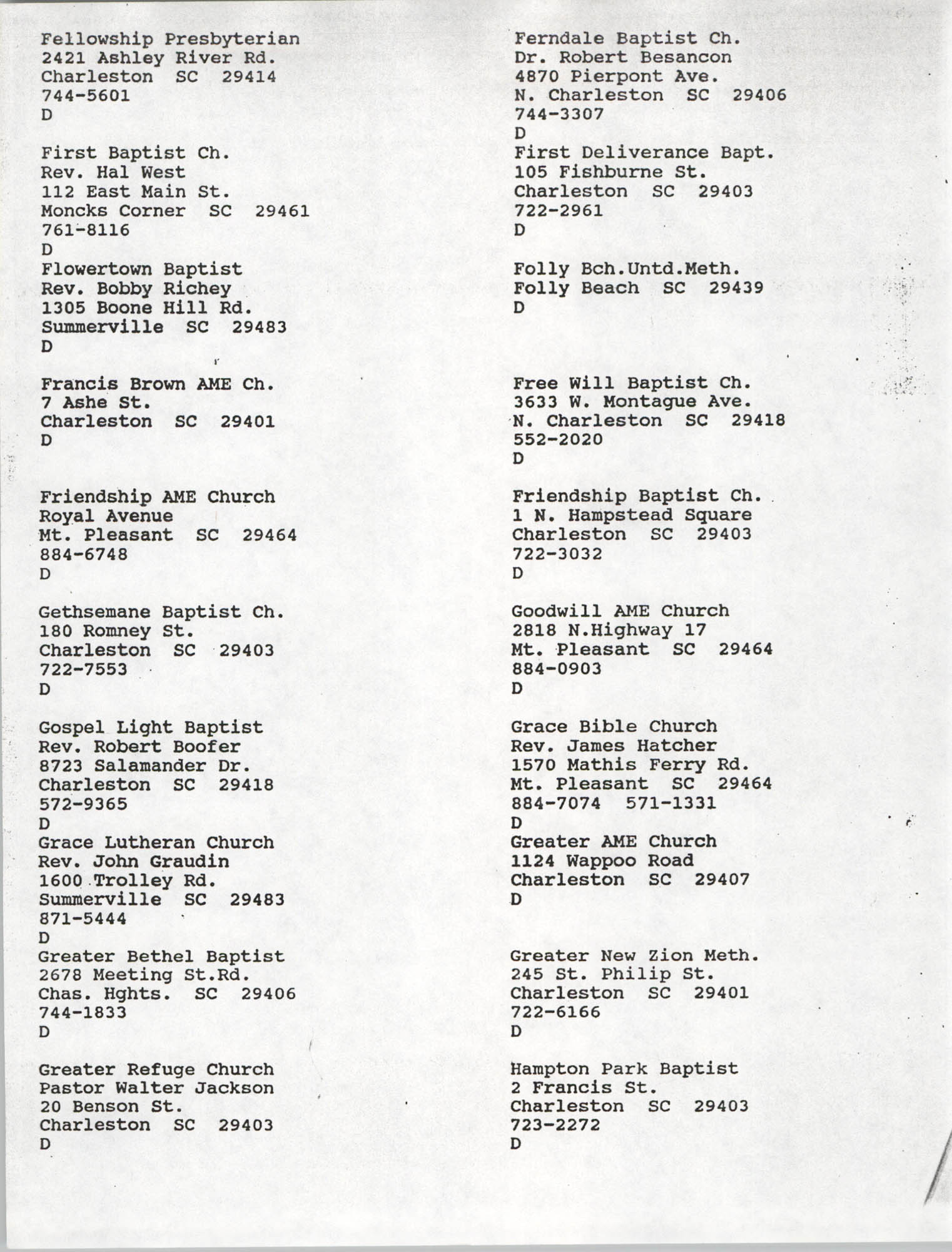 Church Contact List, Charleston Chapter of the NAACP, Page 20
