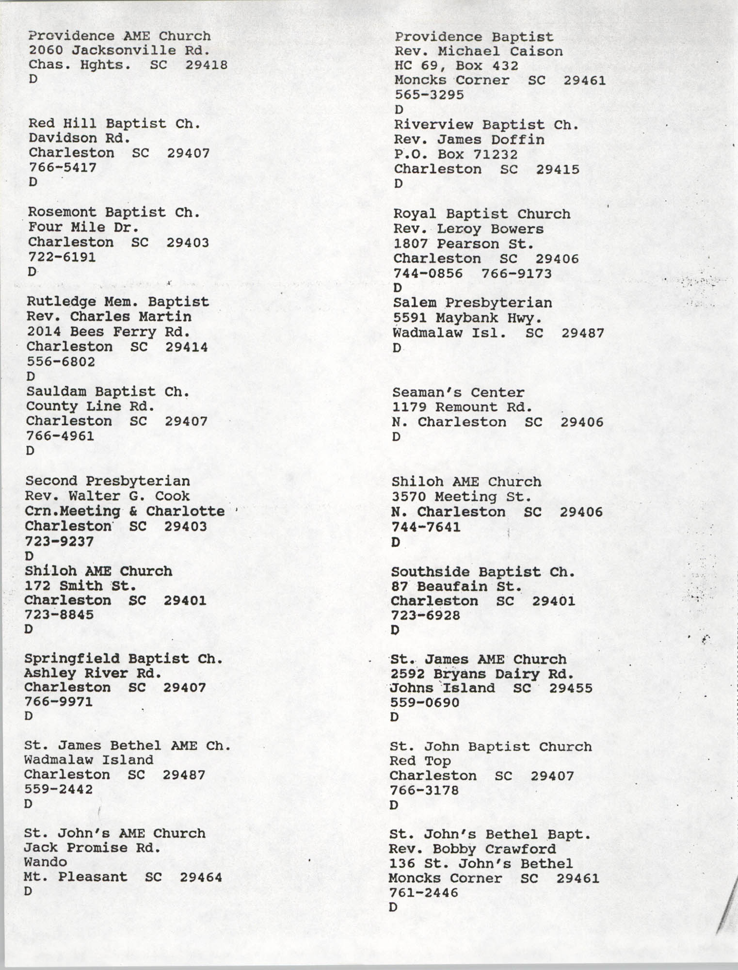 Church Contact List, Charleston Chapter of the NAACP, Page 23