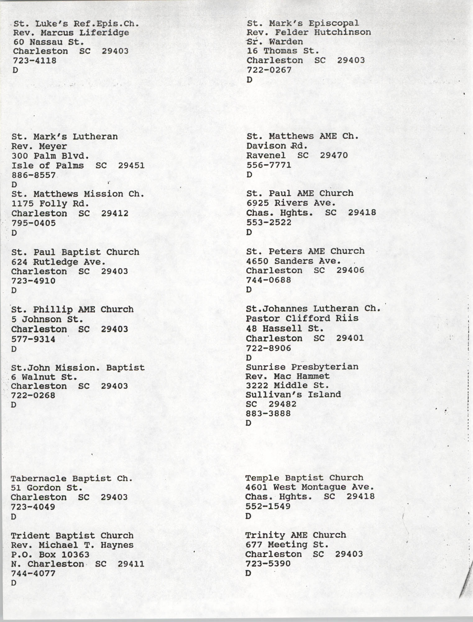Church Contact List, Charleston Chapter of the NAACP, Page 24