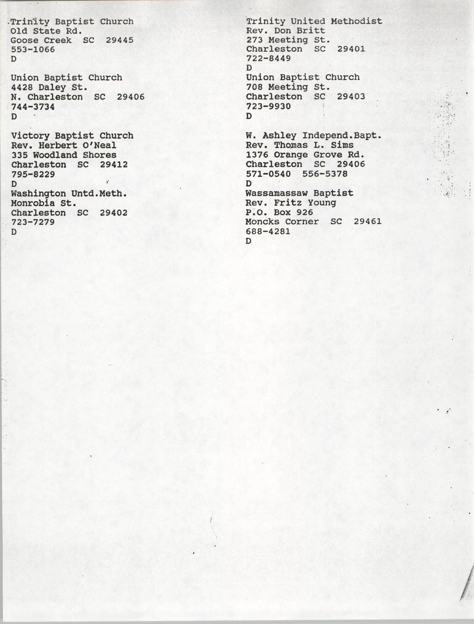 Church Contact List, Charleston Chapter of the NAACP, Page 25