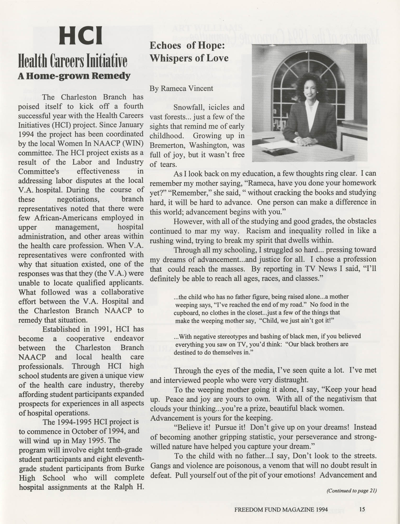 Freedom Fund Magazine, 1994, Page 15