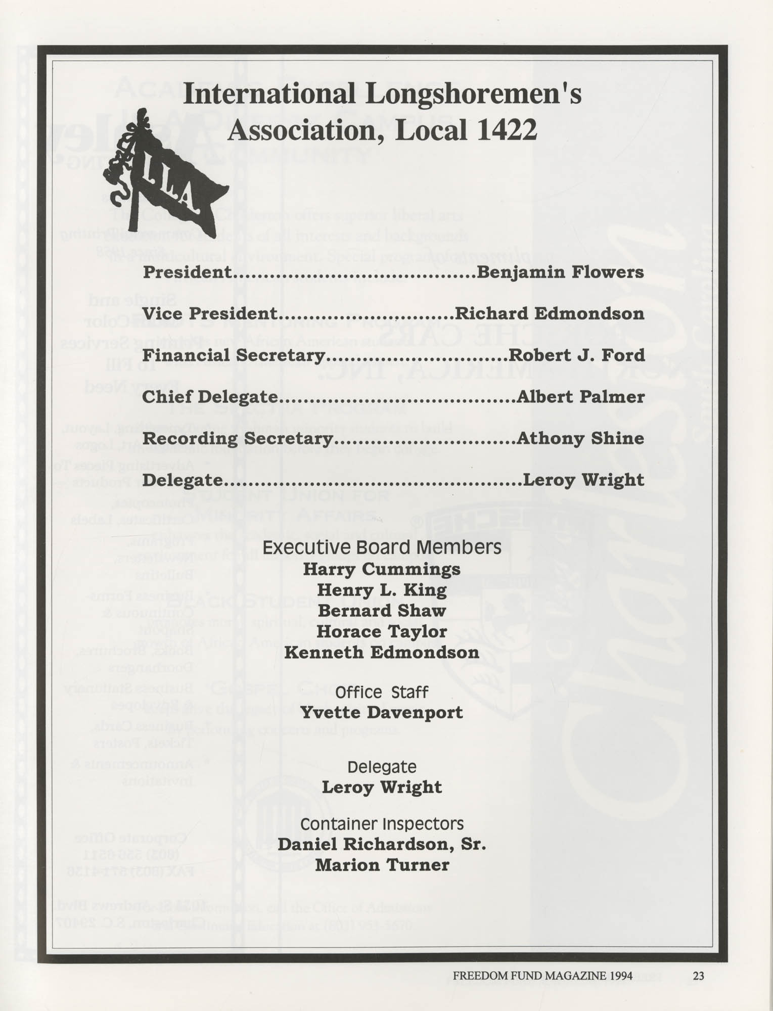 Freedom Fund Magazine, 1994, Page 23