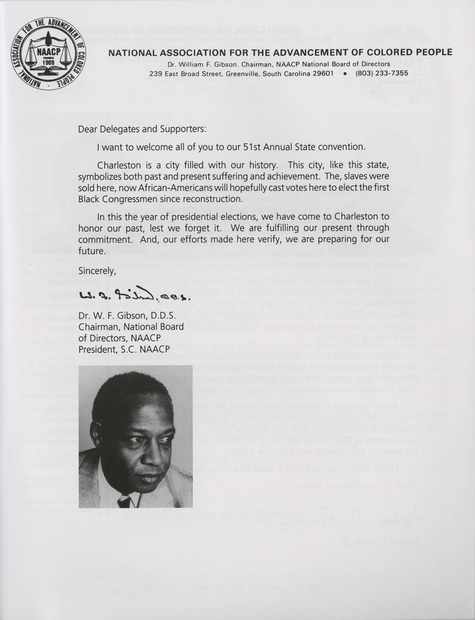 Charleston Branch of the NAACP 51st Annual State Convention Program, Page 1
