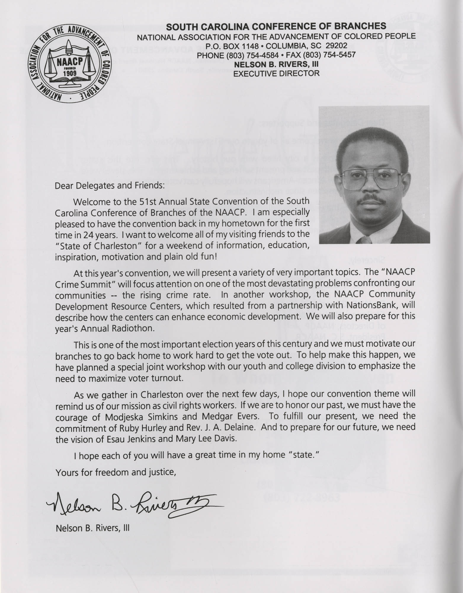 Charleston Branch of the NAACP 51st Annual State Convention Program, Page 2