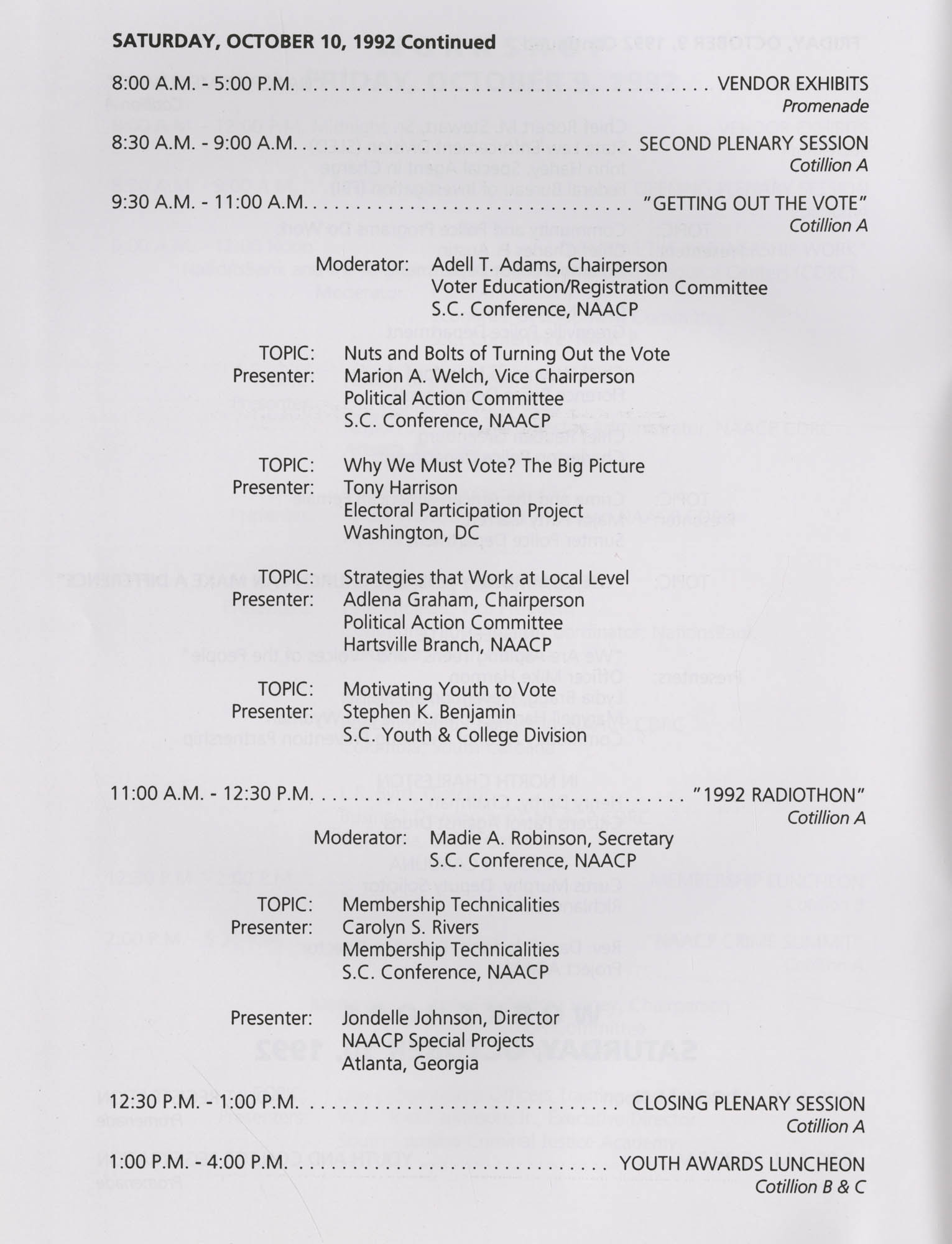 Charleston Branch of the NAACP 51st Annual State Convention Program, Page 8