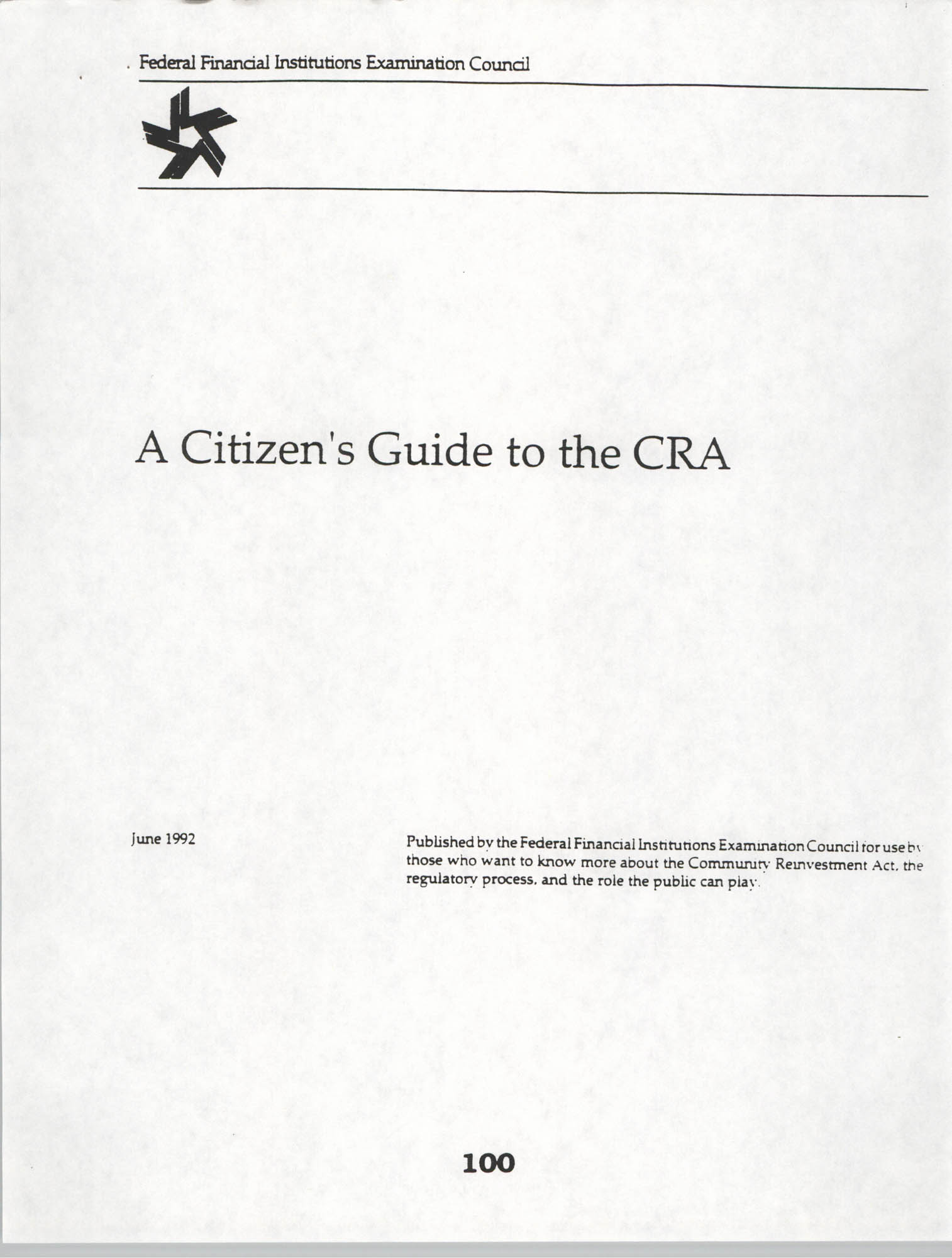 A Citizen's Guide to the CRA, Cover